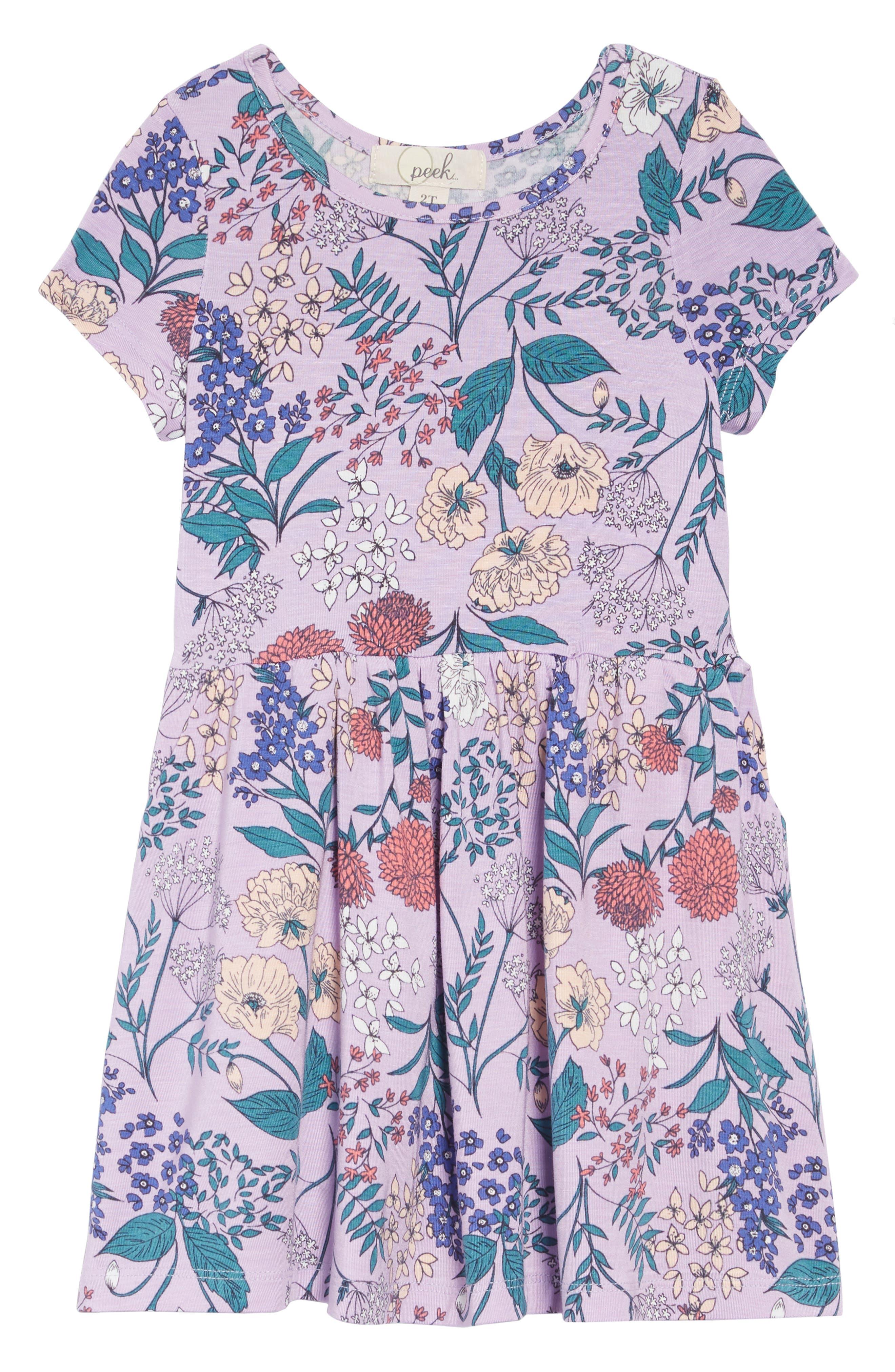 Candice Floral Dress, Main, color, PURPLE