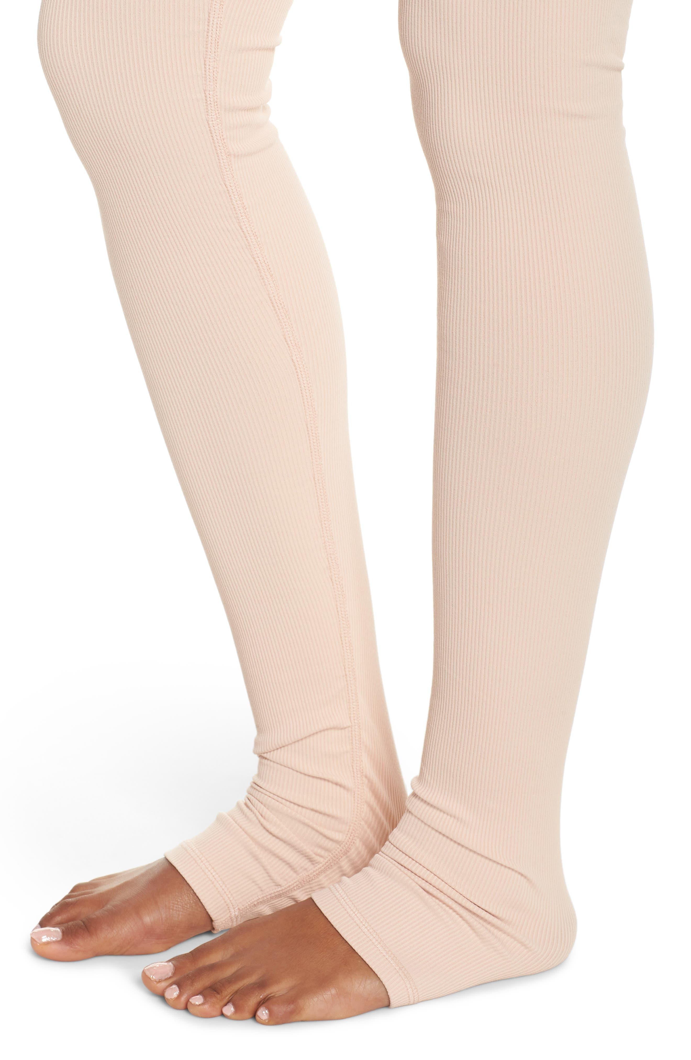 Goddess Ribbed Leggings,                             Alternate thumbnail 4, color,                             BLACK/ NECTAR