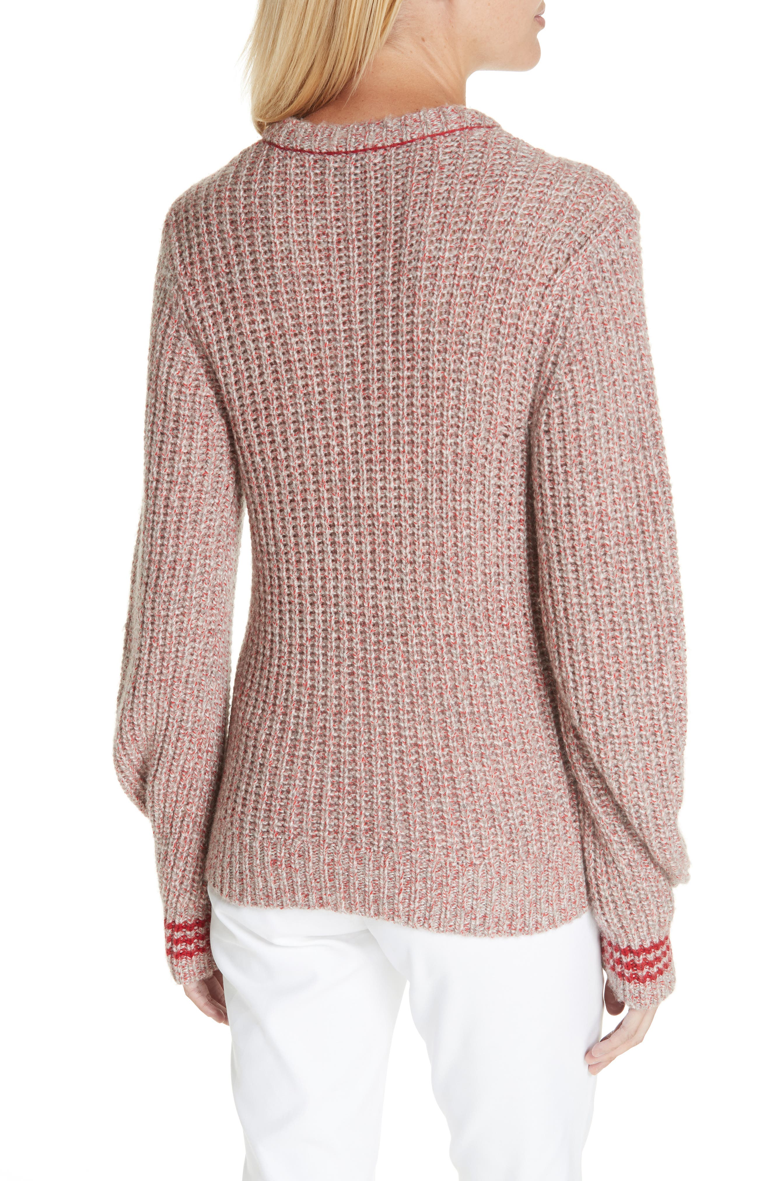 Cheryl Stripe Cuff Wool Blend Sweater,                             Alternate thumbnail 2, color,                             067