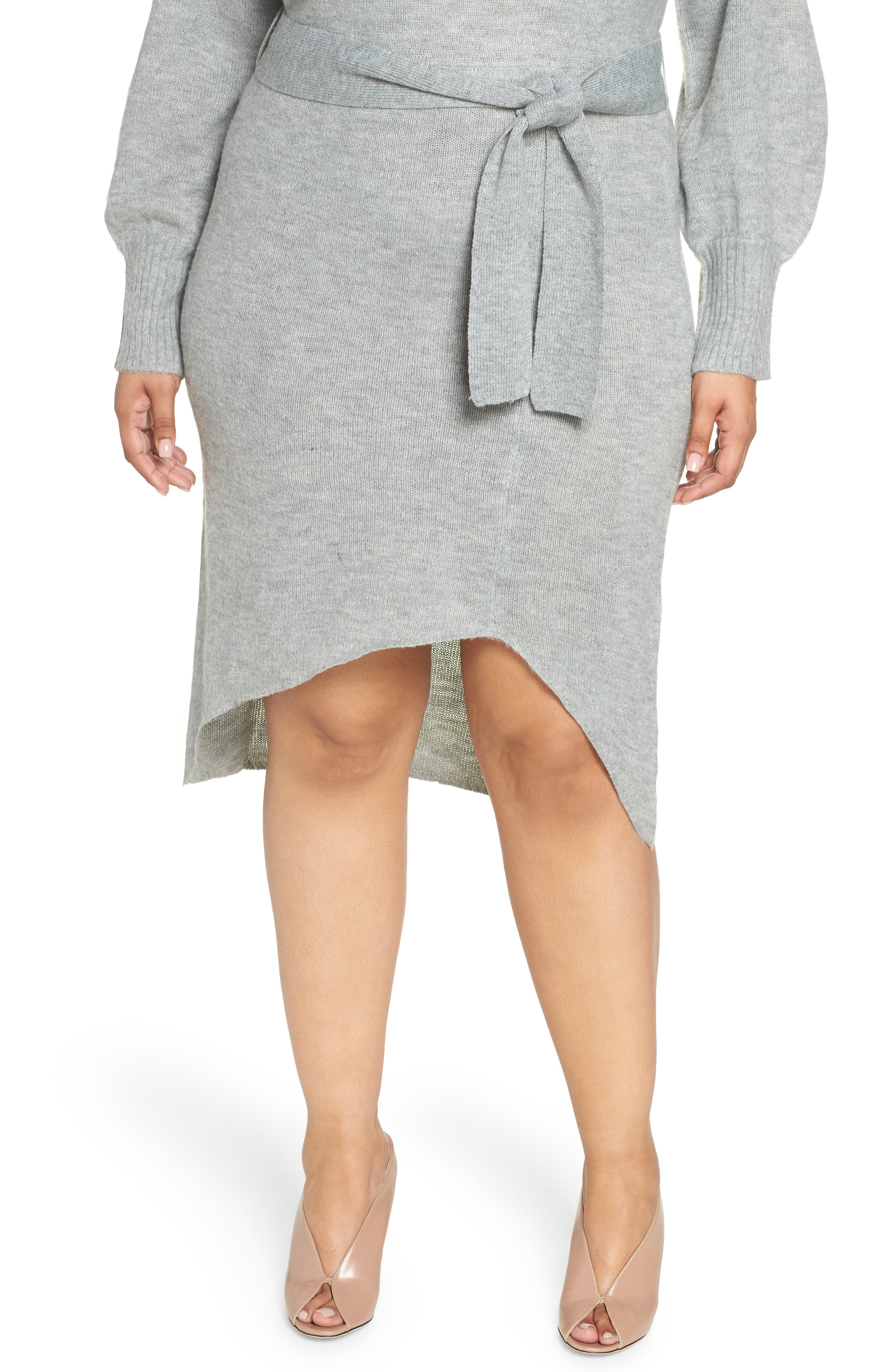 Belted Sweater Dress,                             Alternate thumbnail 4, color,                             GREY