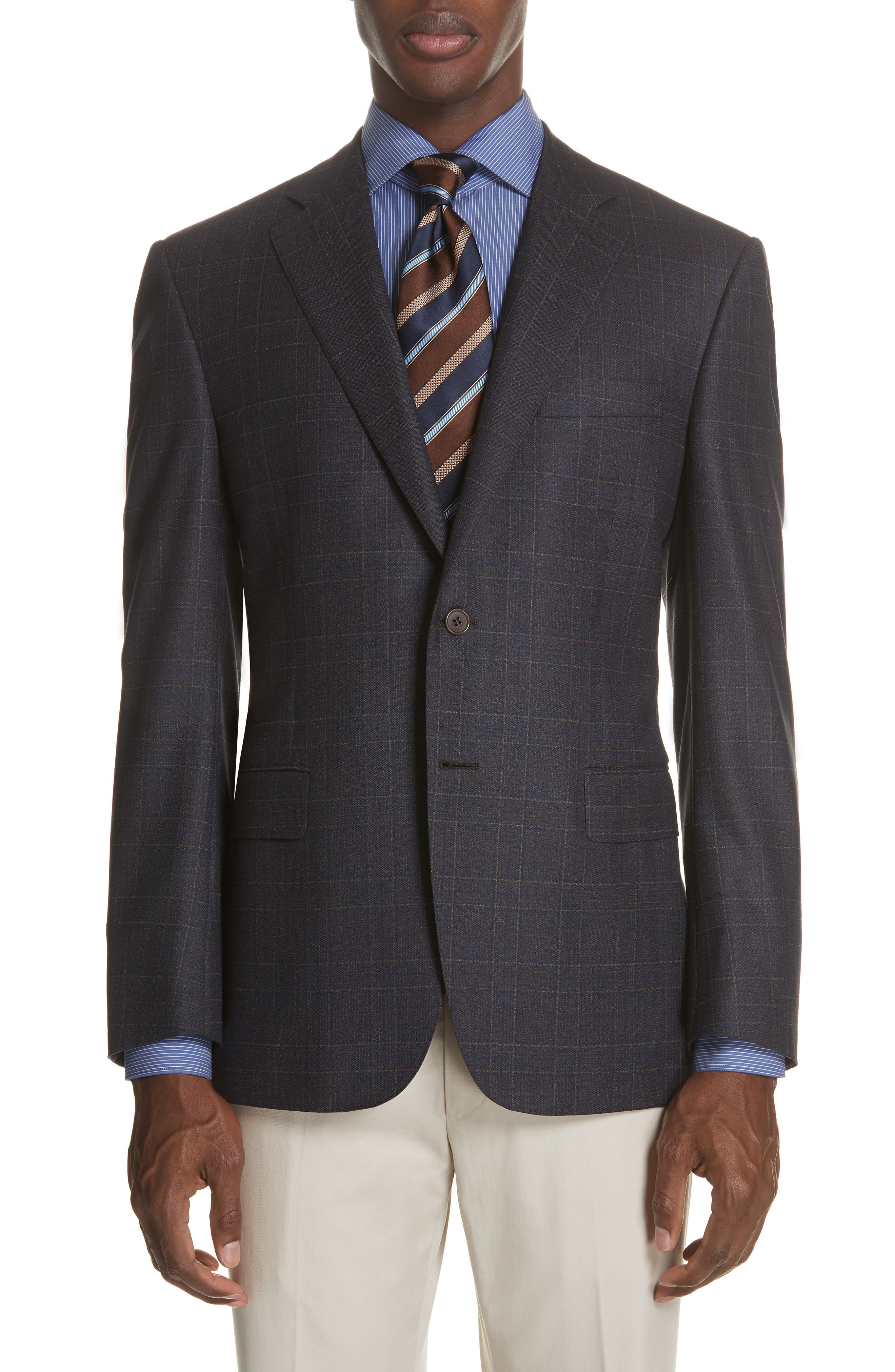Classic Fit Plaid Wool Sport Coat,                             Main thumbnail 1, color,                             MED BROWN