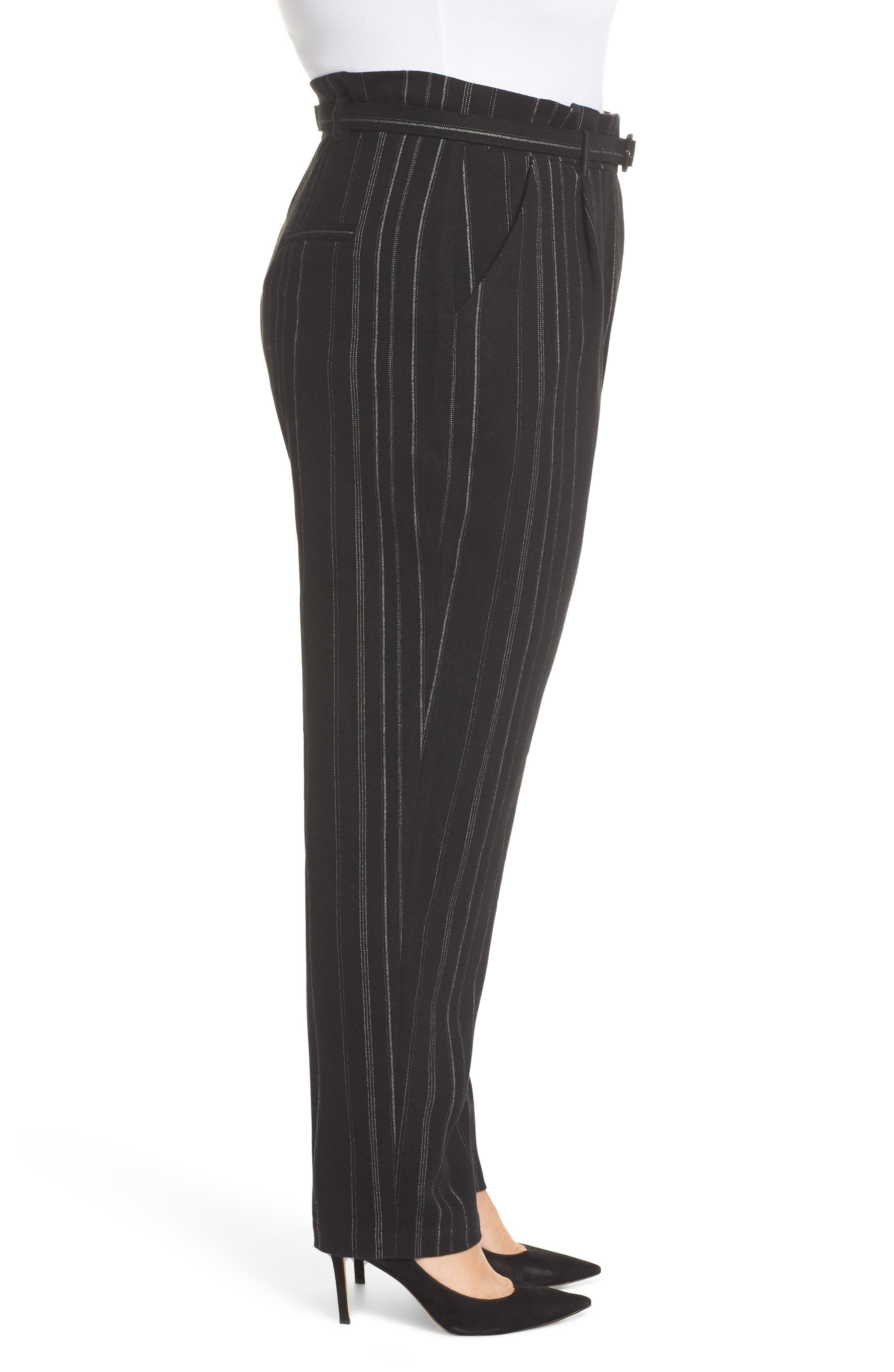 High Rise Belted Paperbag Pants,                             Alternate thumbnail 10, color,                             BLACK MIXED STRIPE