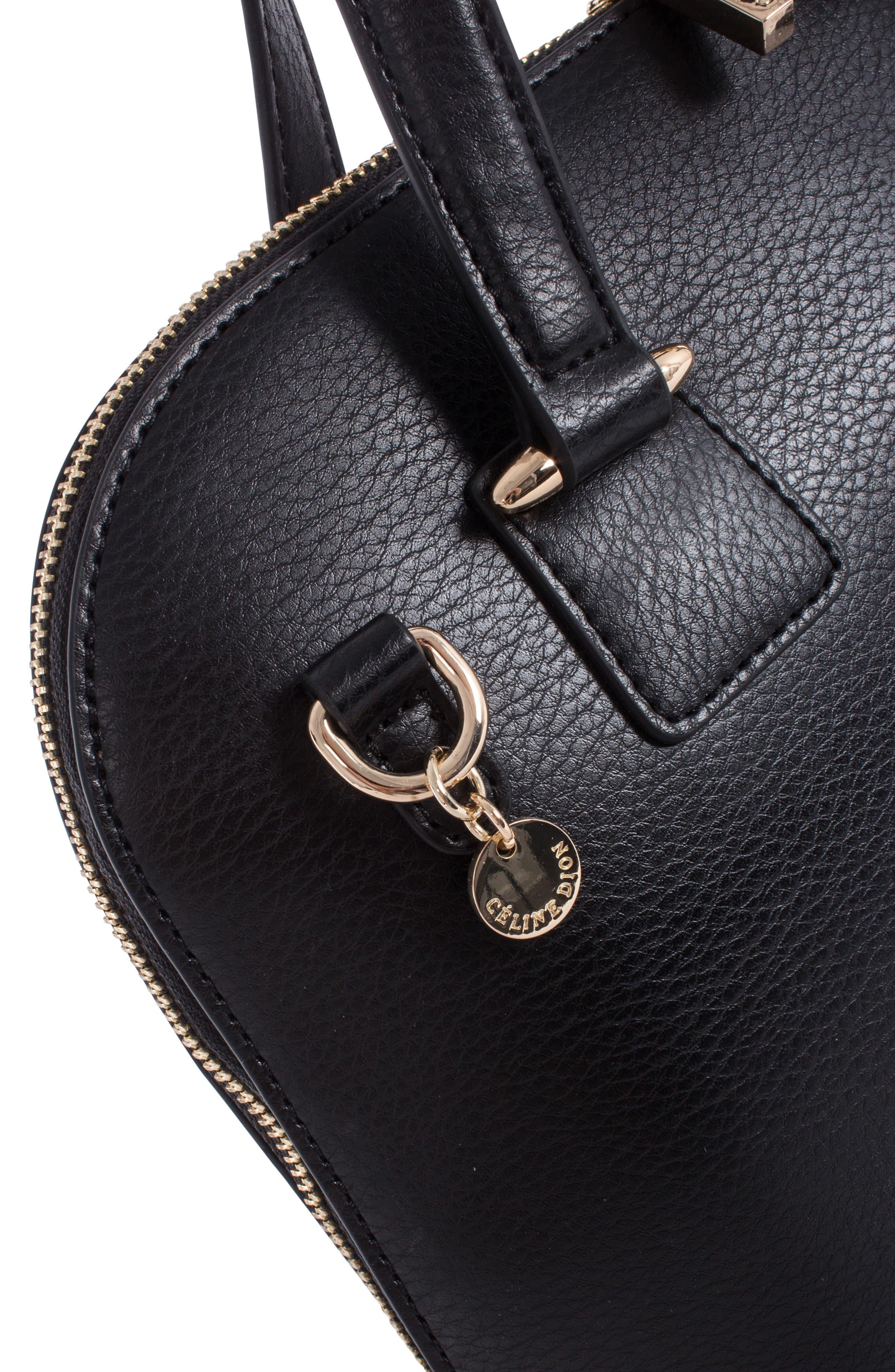 Céline Dion Triad Leather Satchel,                             Alternate thumbnail 6, color,                             BLACK