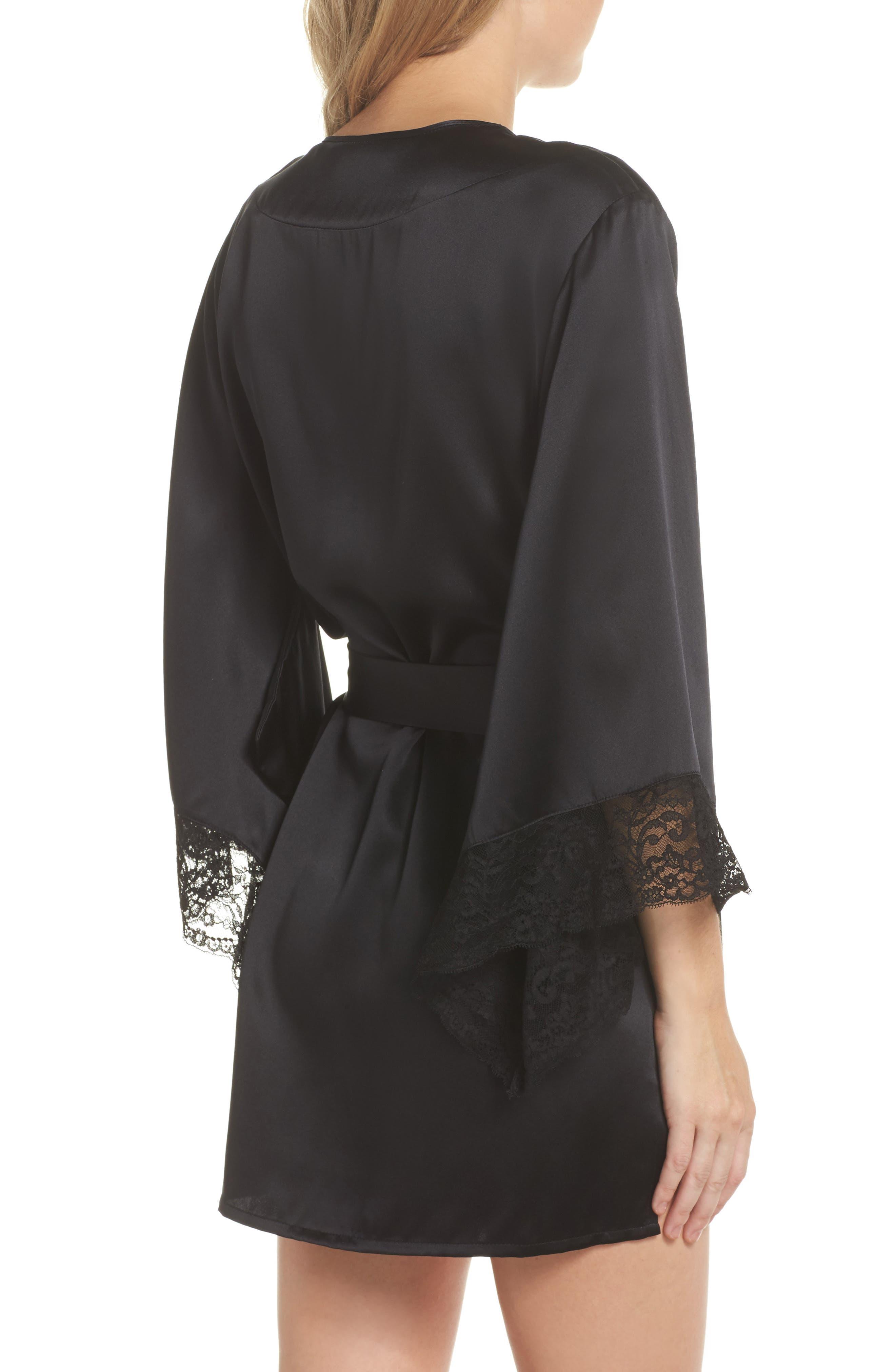Yukata Lace & Silk Robe,                             Alternate thumbnail 2, color,                             BLACK