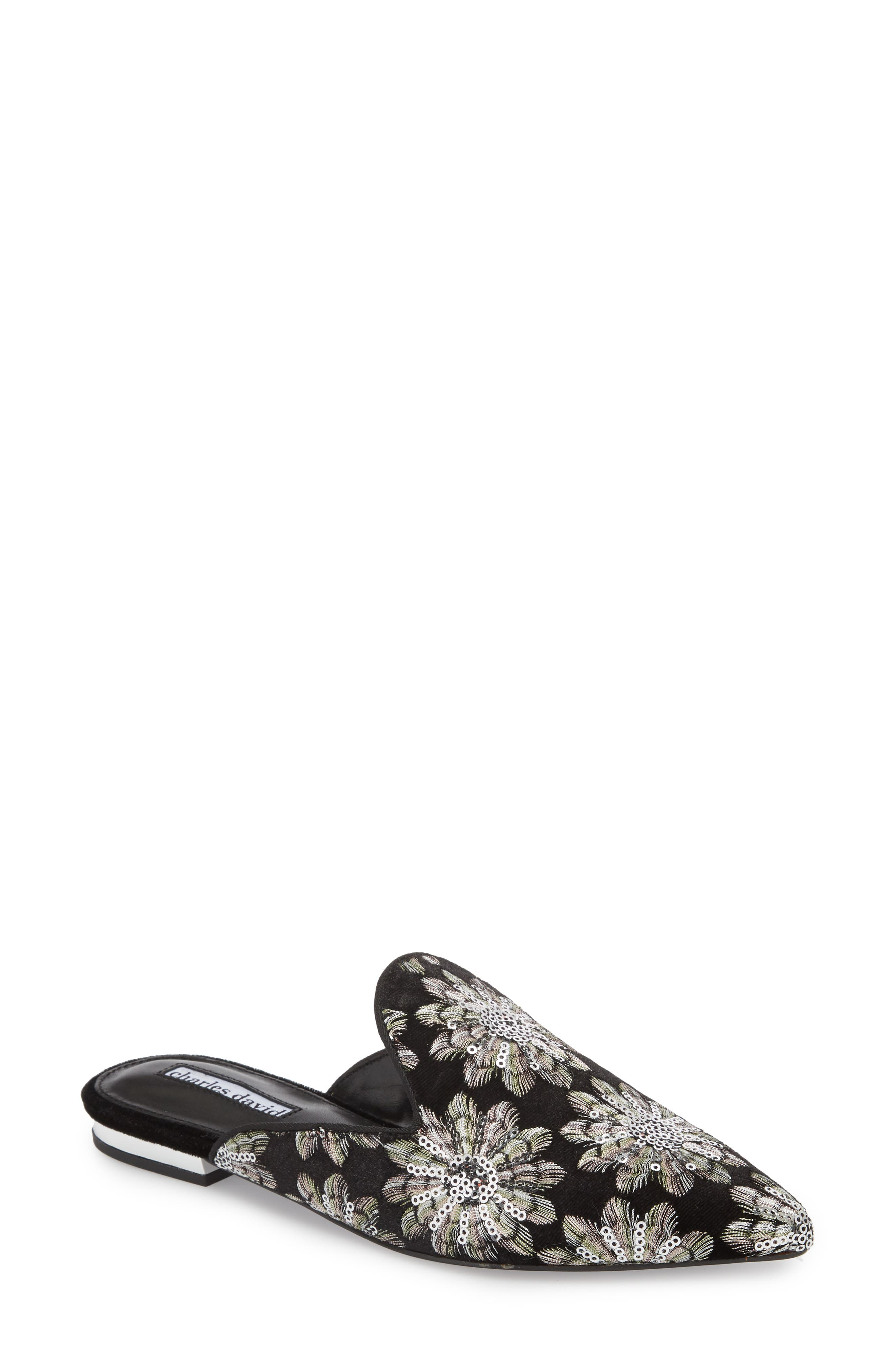 Willis Loafer Mule,                         Main,                         color, SILVER/ BLACK FABRIC