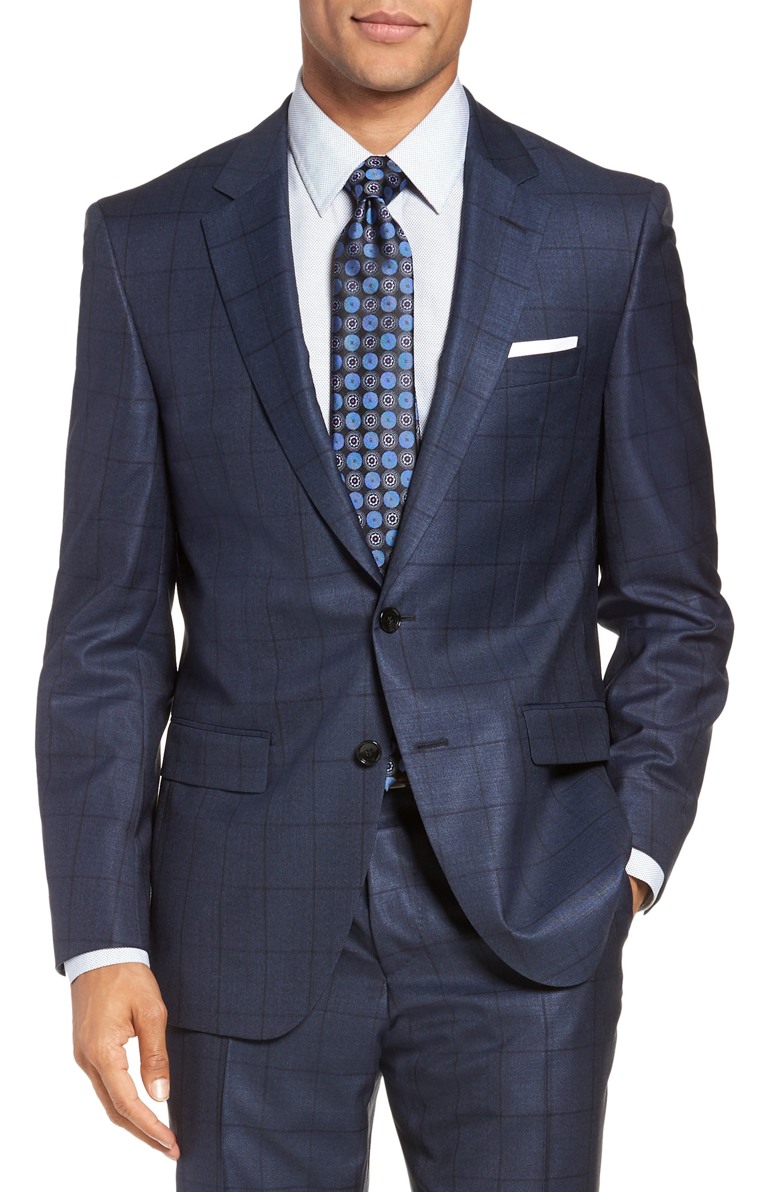 Harvers/Glover Trim Fit Windowpane Wool & Silk Suit,                             Alternate thumbnail 5, color,                             OPEN BLUE
