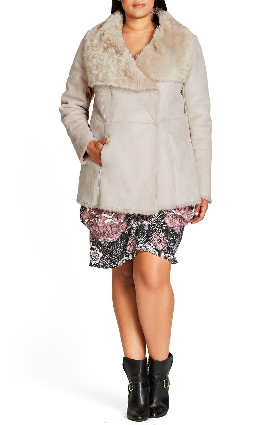 Faux Shearling Coat,                         Main,                         color, 111