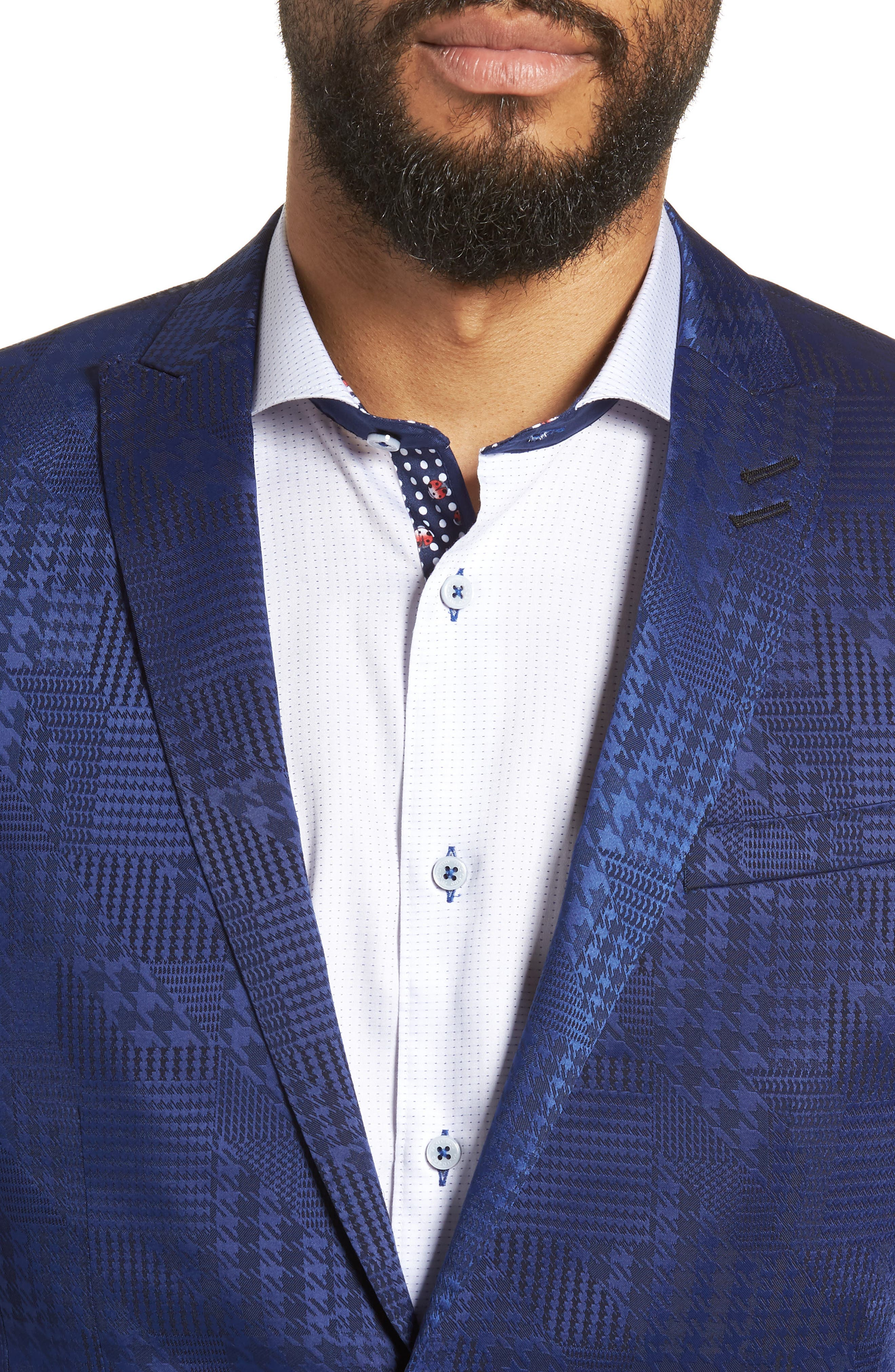Descartes Patch Houndstooth Sport Coat,                             Alternate thumbnail 4, color,                             420
