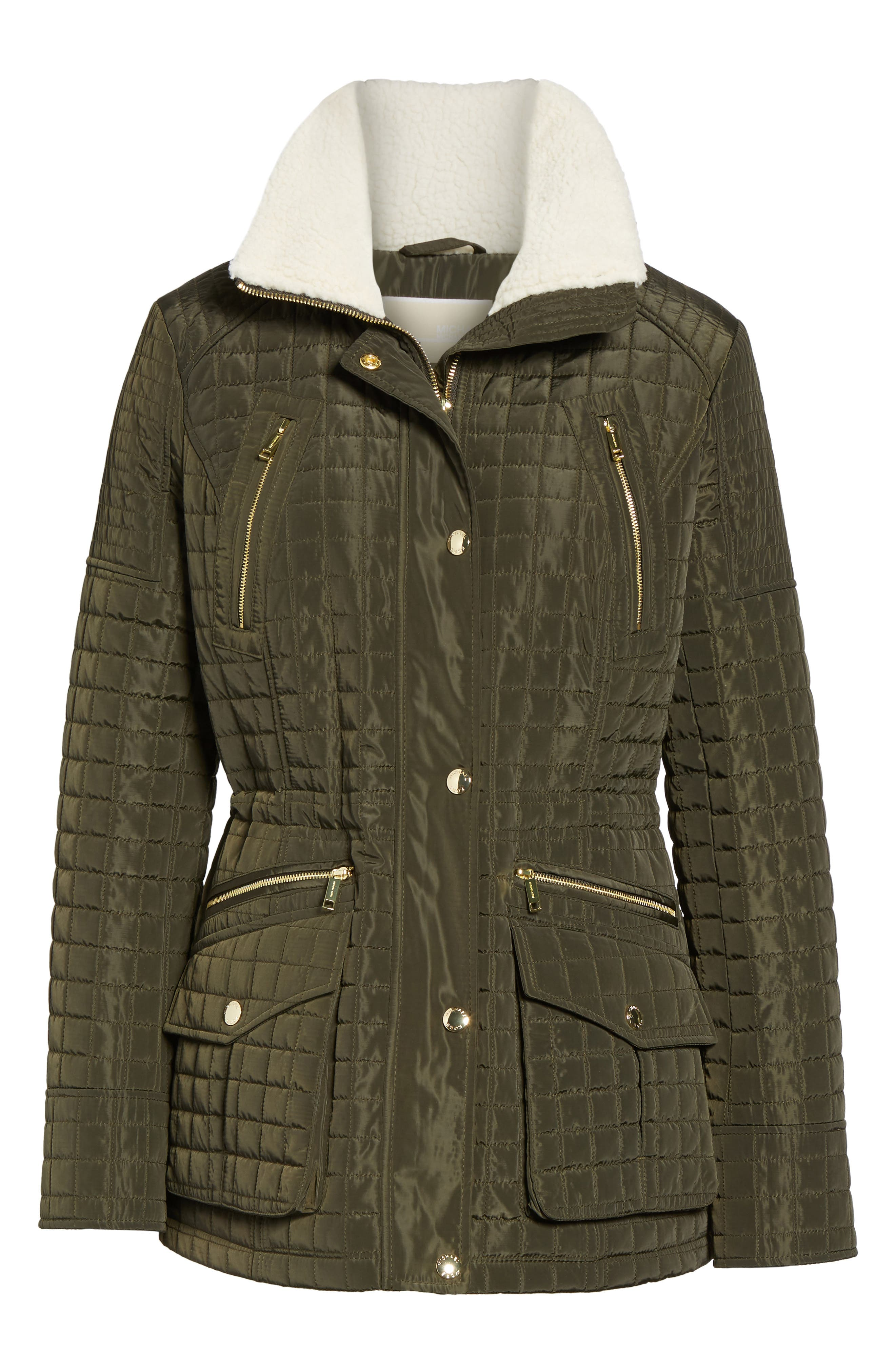 Water Resistant Quilted Anorak with Faux Shearling Trim,                             Alternate thumbnail 5, color,                             377
