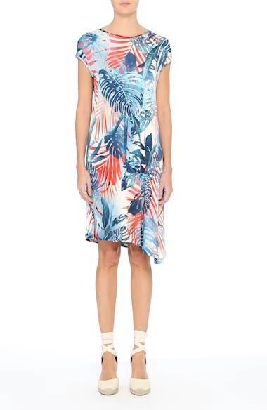 Foliage Print Asymmetrical Short Sleeve Shift Dress, video thumbnail