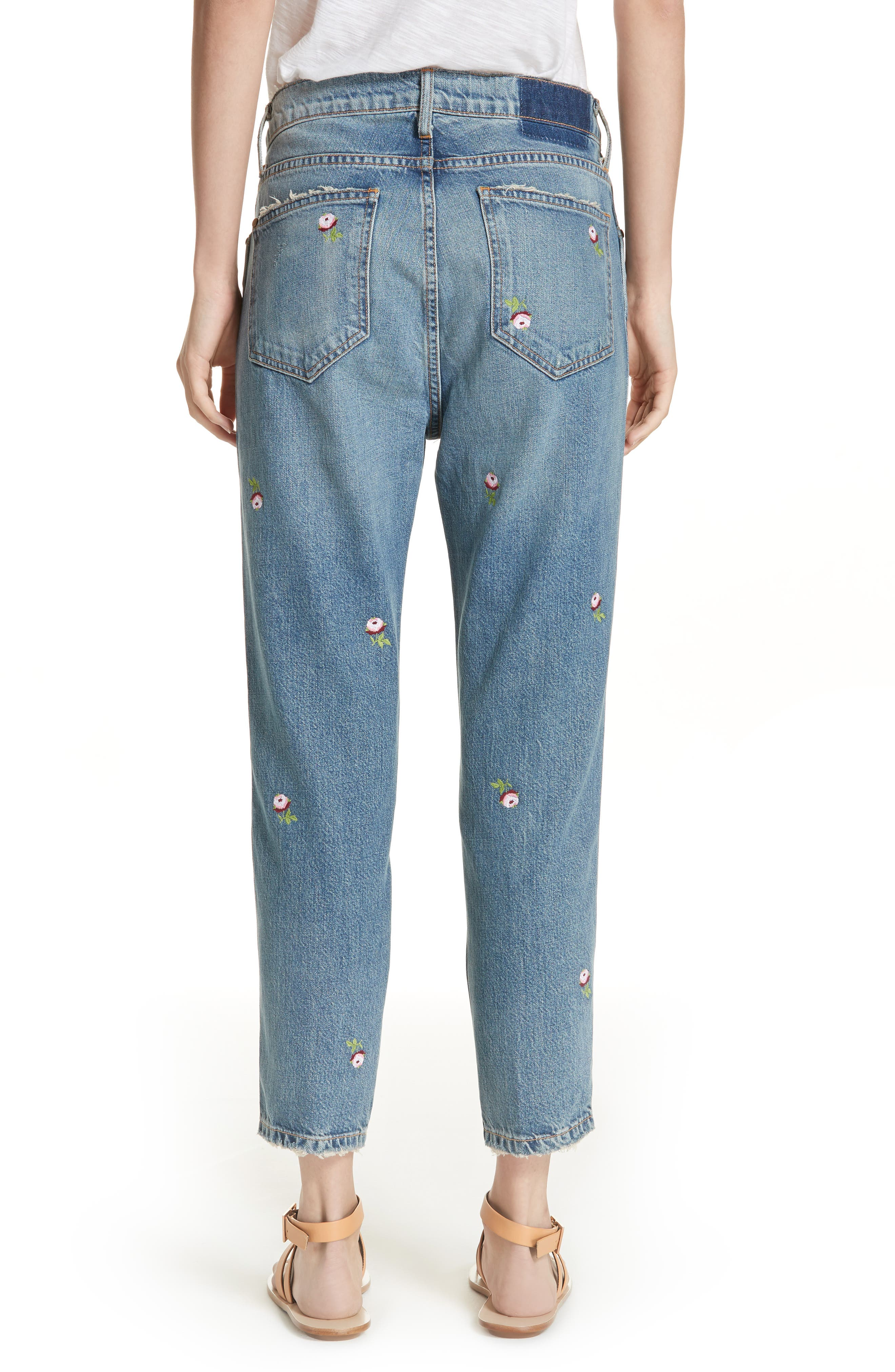 The Rigid Fellow Floral Embroidered Jeans,                             Alternate thumbnail 2, color,                             PRAIRIE WASH W/ ROSETTE