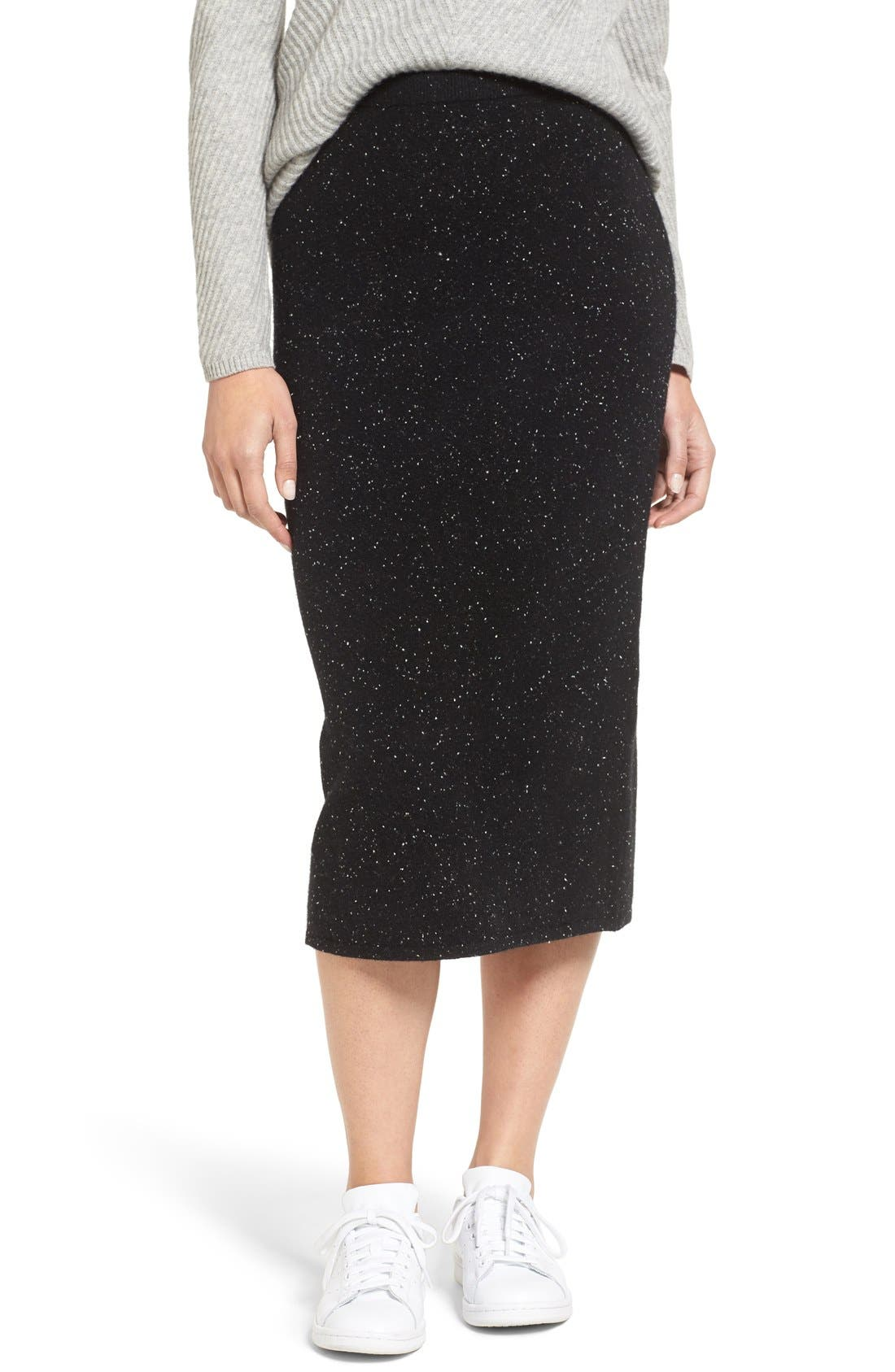 Cashmere Blend Knit Skirt,                             Main thumbnail 1, color,                             001