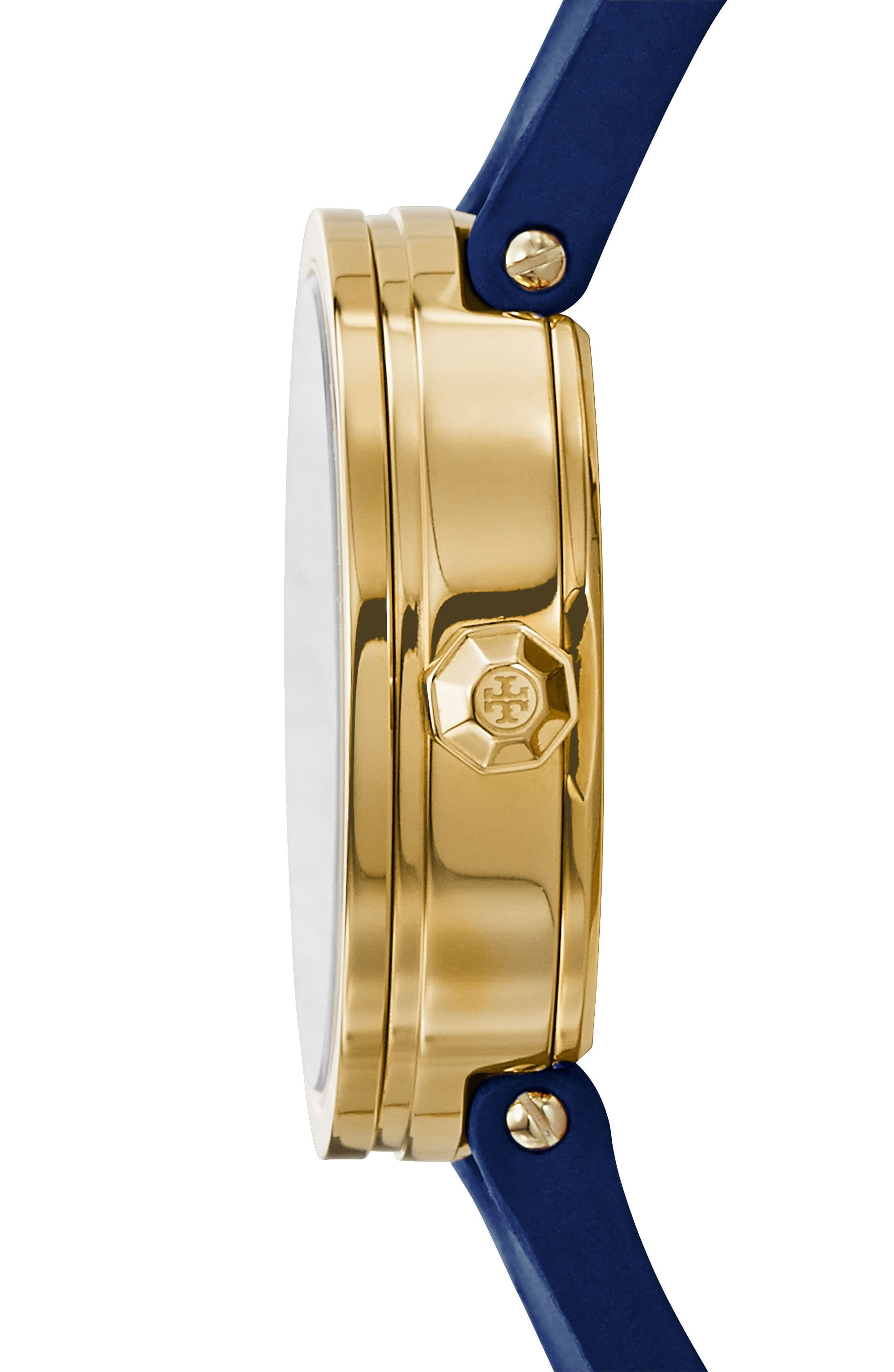 Reva Logo Dial Leather Strap Watch, 36mm,                             Alternate thumbnail 2, color,                             NAVY/ IVORY/ GOLD