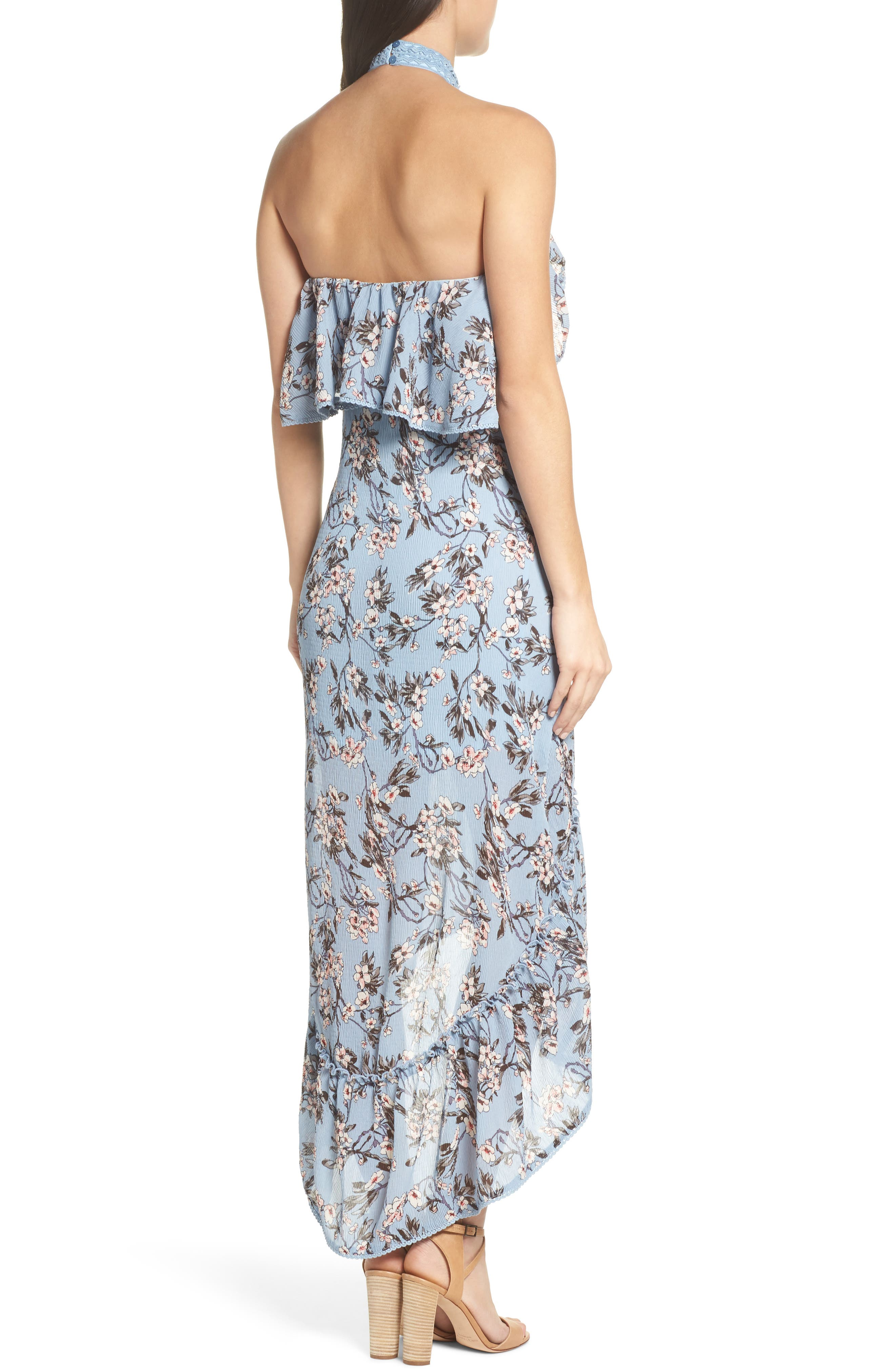 Floral Print High/Low Halter Dress,                             Alternate thumbnail 2, color,                             450