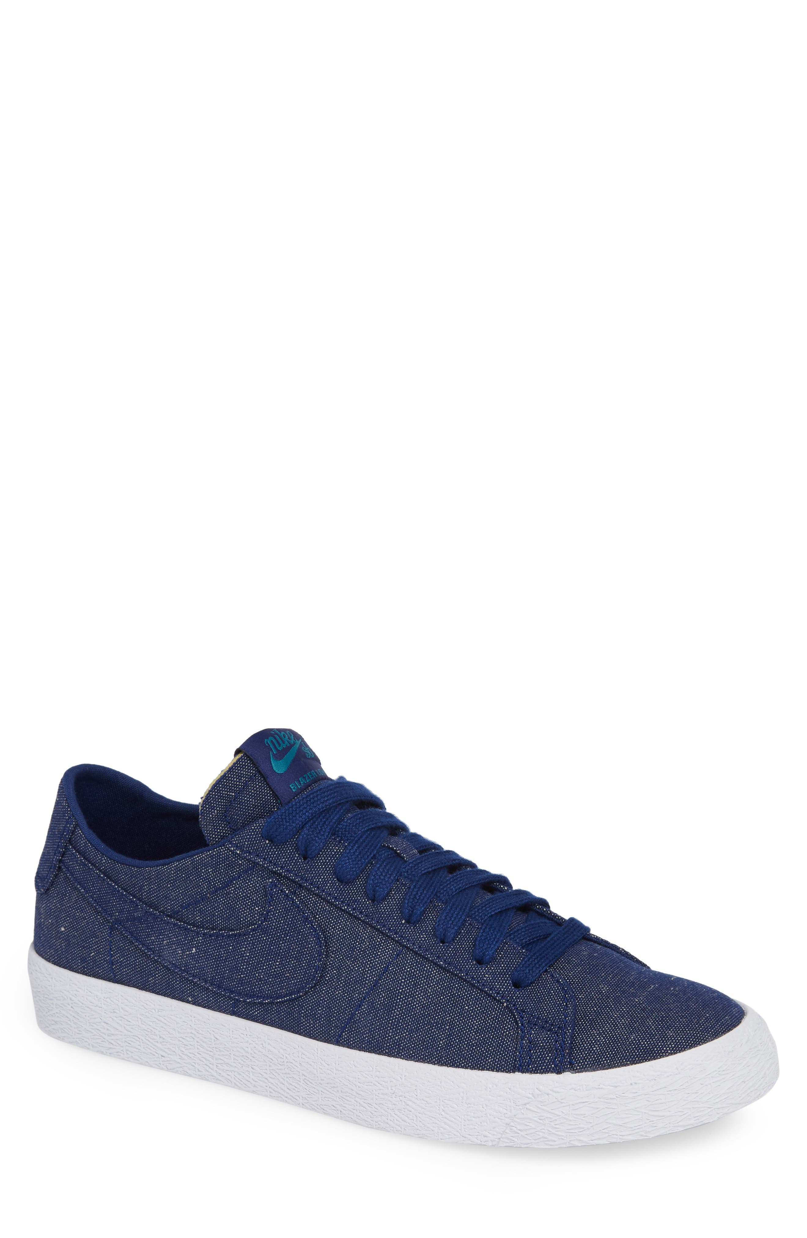 SB Zoom Blazer Canvas Decon Skateboarding Sneaker,                             Main thumbnail 1, color,                             BLUE VOID/ TEAL