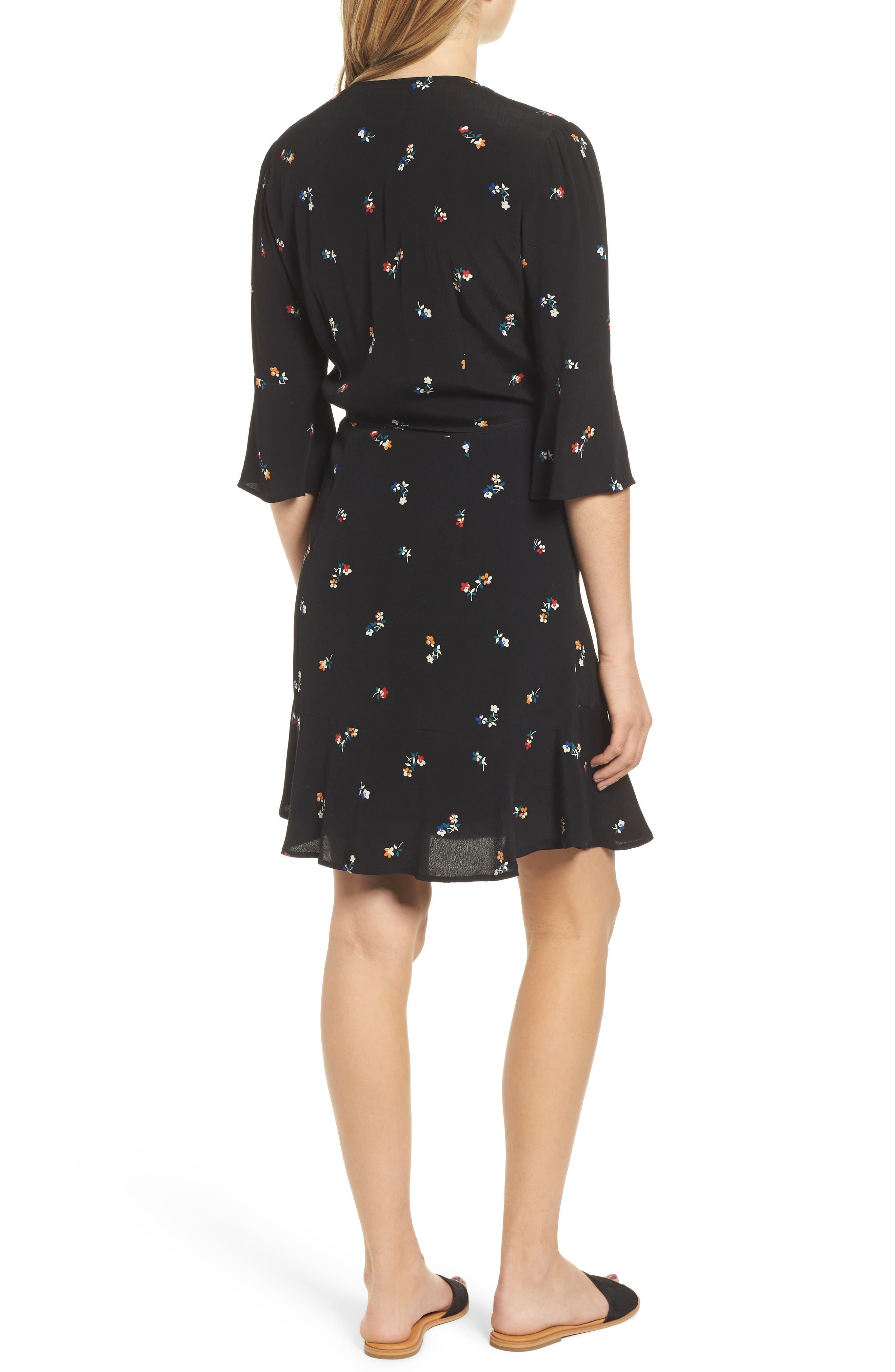 Aimee Ruffle Detail Wrap Dress,                             Alternate thumbnail 2, color,                             BLACK KYOTO FLORAL