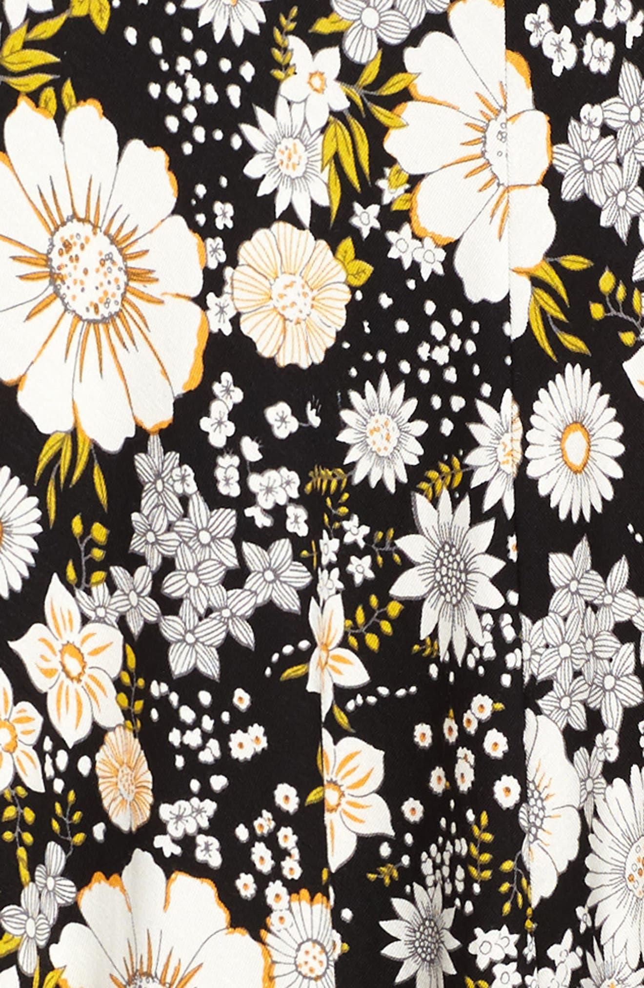 Floral Print Knit A-Line Dress,                             Alternate thumbnail 3, color,                             001