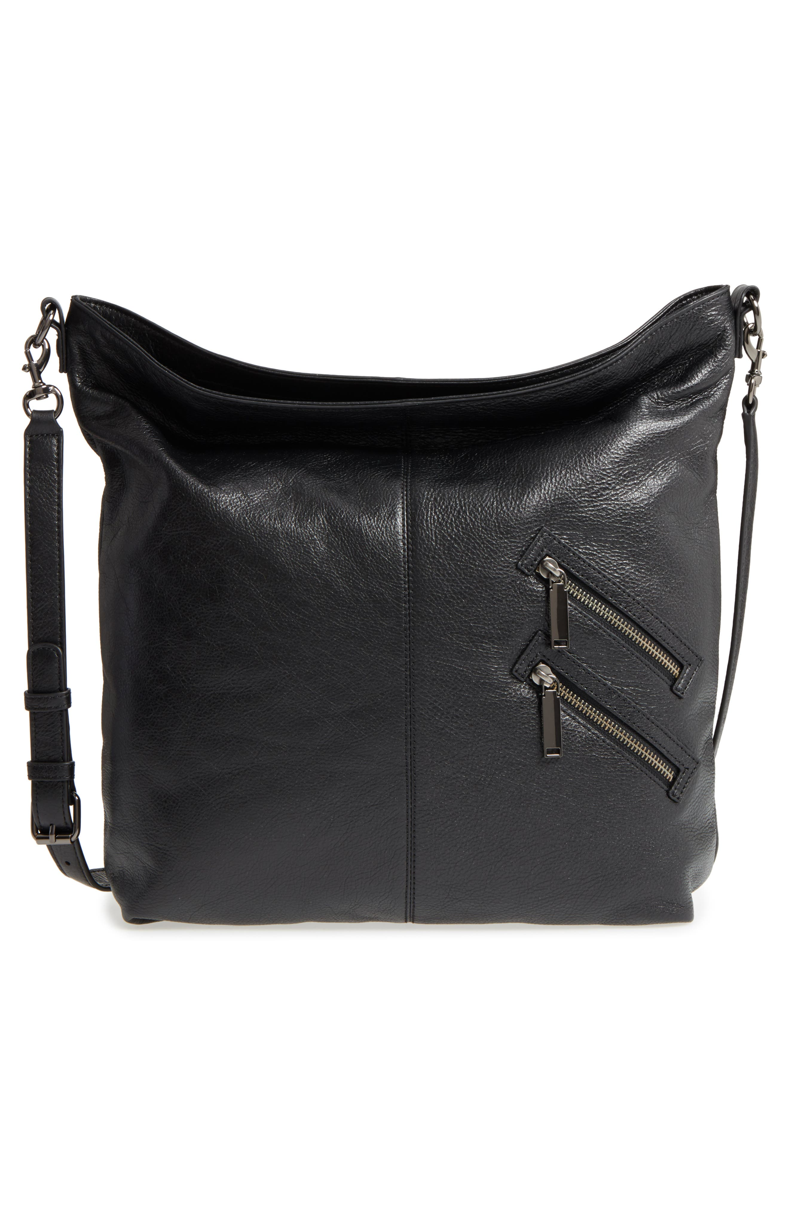 Large Jamie Convertible Leather Hobo,                             Alternate thumbnail 3, color,                             001