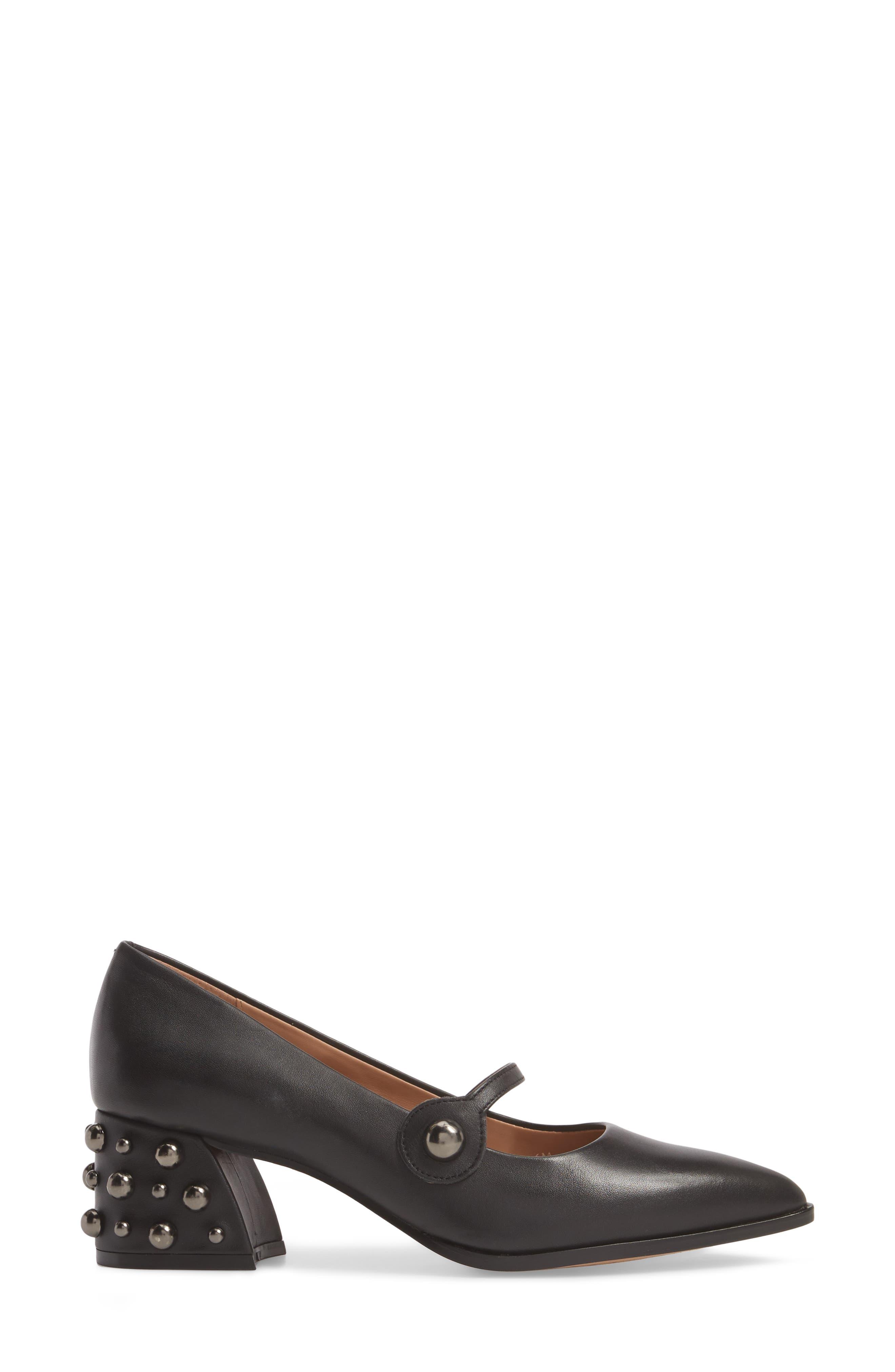 Franka Studded Heel Pump,                             Alternate thumbnail 3, color,                             BLACK LEATHER