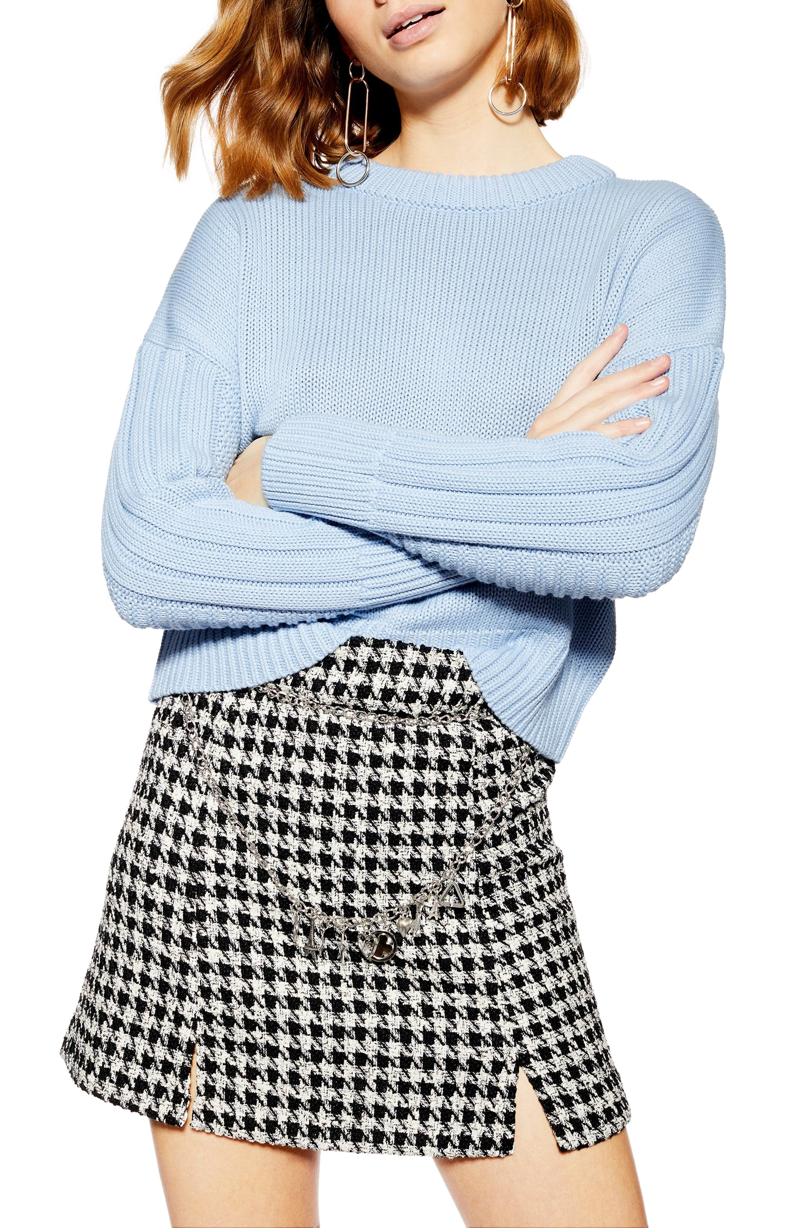 Topshop Ribbed Sleeve Detail Sweater, Blue