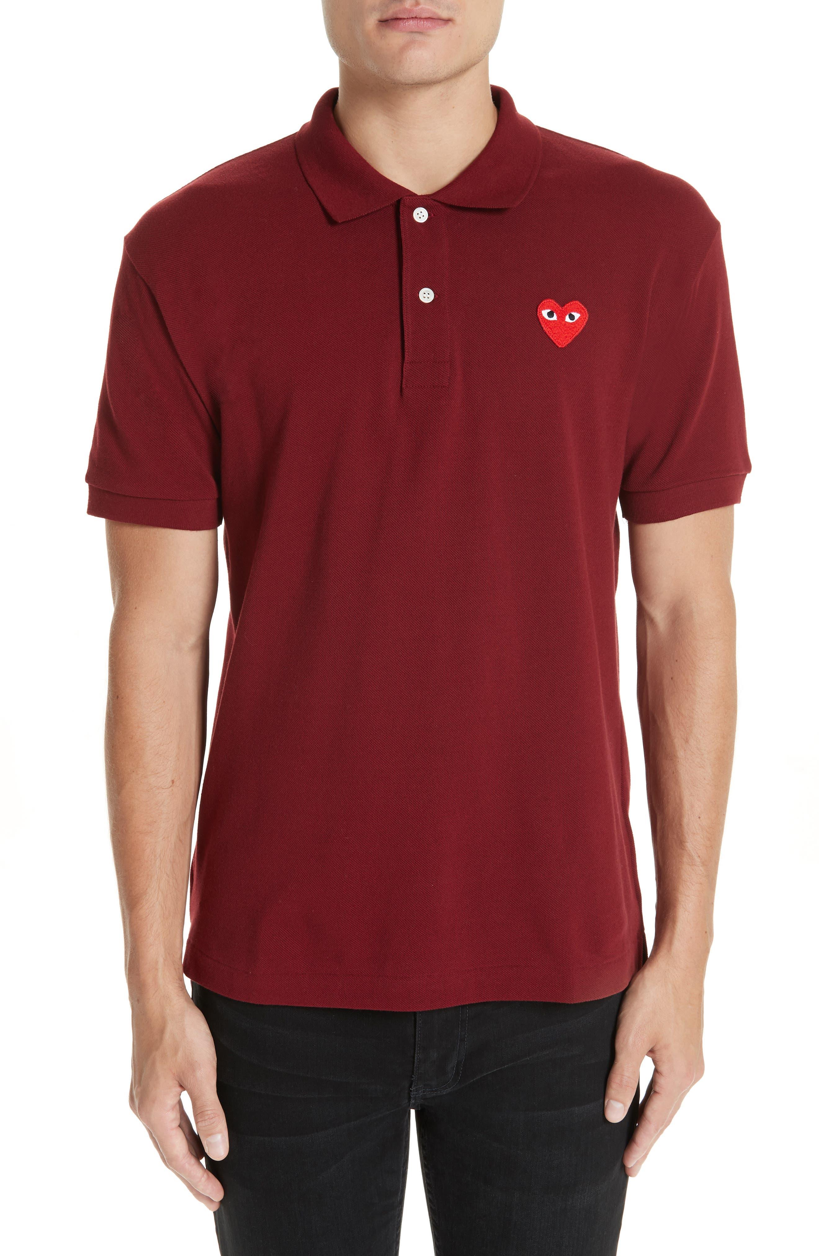 Comme des Garçons PLAY Heart Logo Polo,                         Main,                         color, BURGUNDY