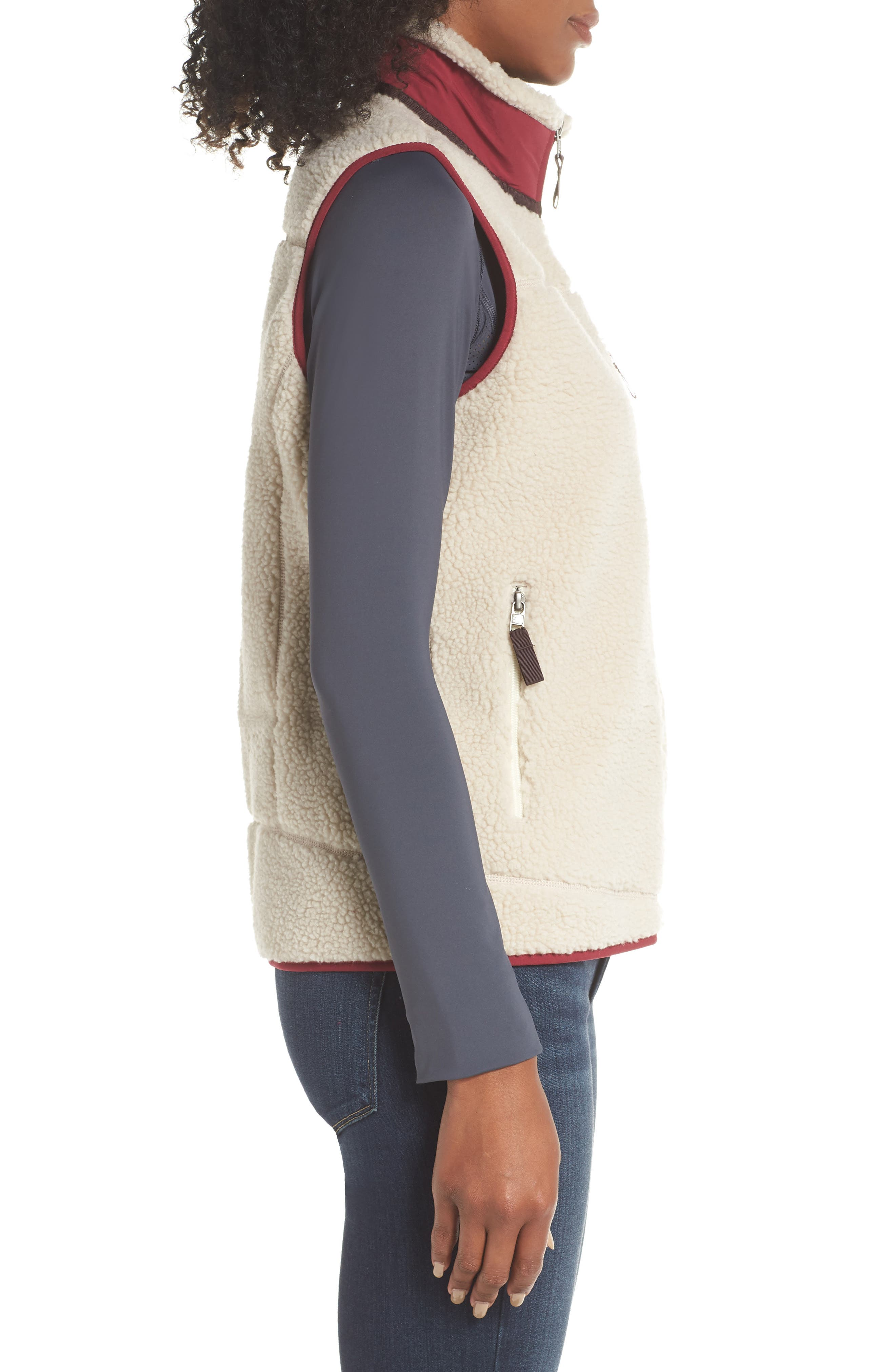 Classic Retro-X<sup>®</sup> Fleece Vest,                             Alternate thumbnail 3, color,                             NATURAL W/ ARROW RED