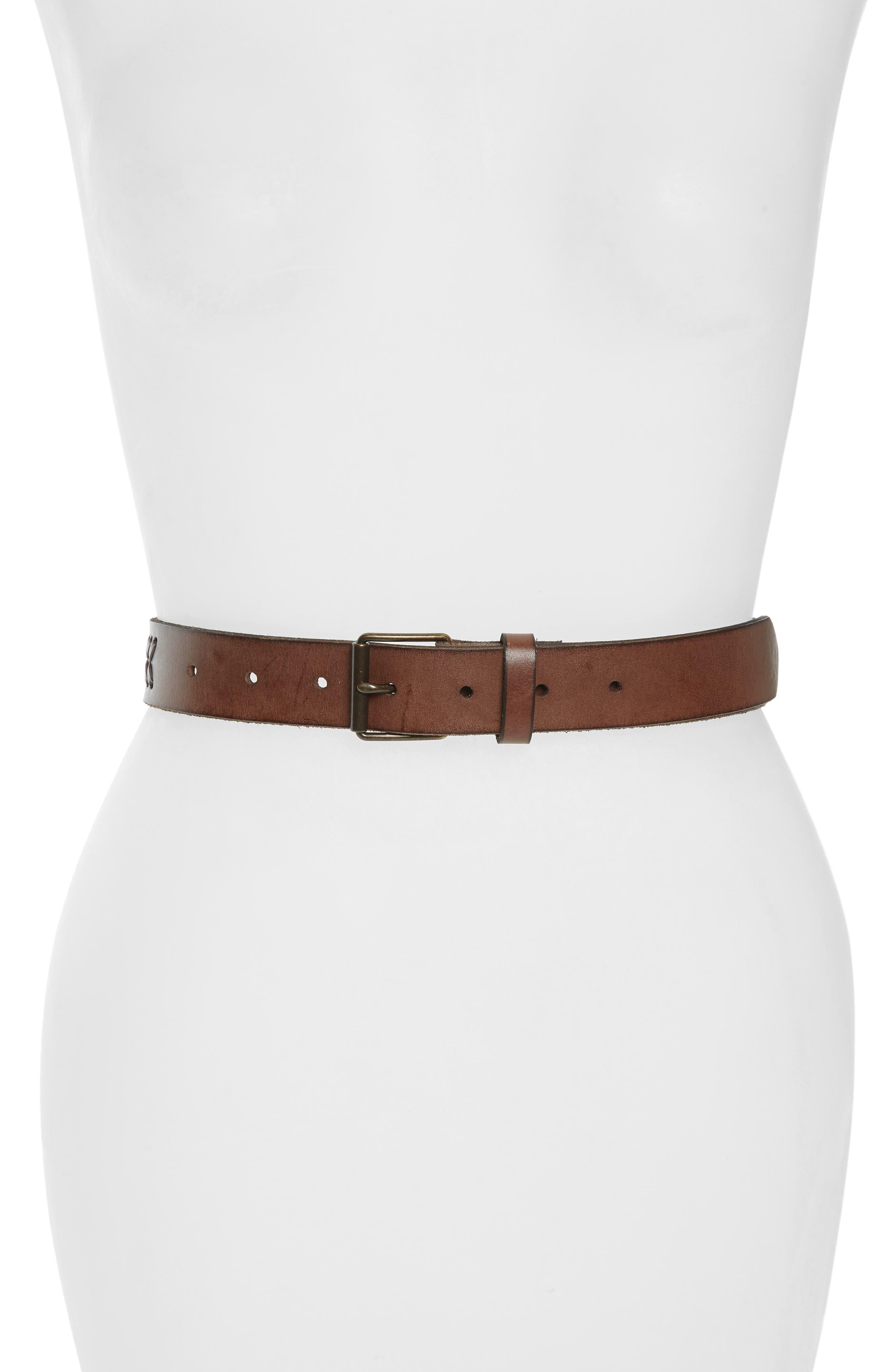 Treasure & Bond Whipstitch Leather Belt, Brown Saddle