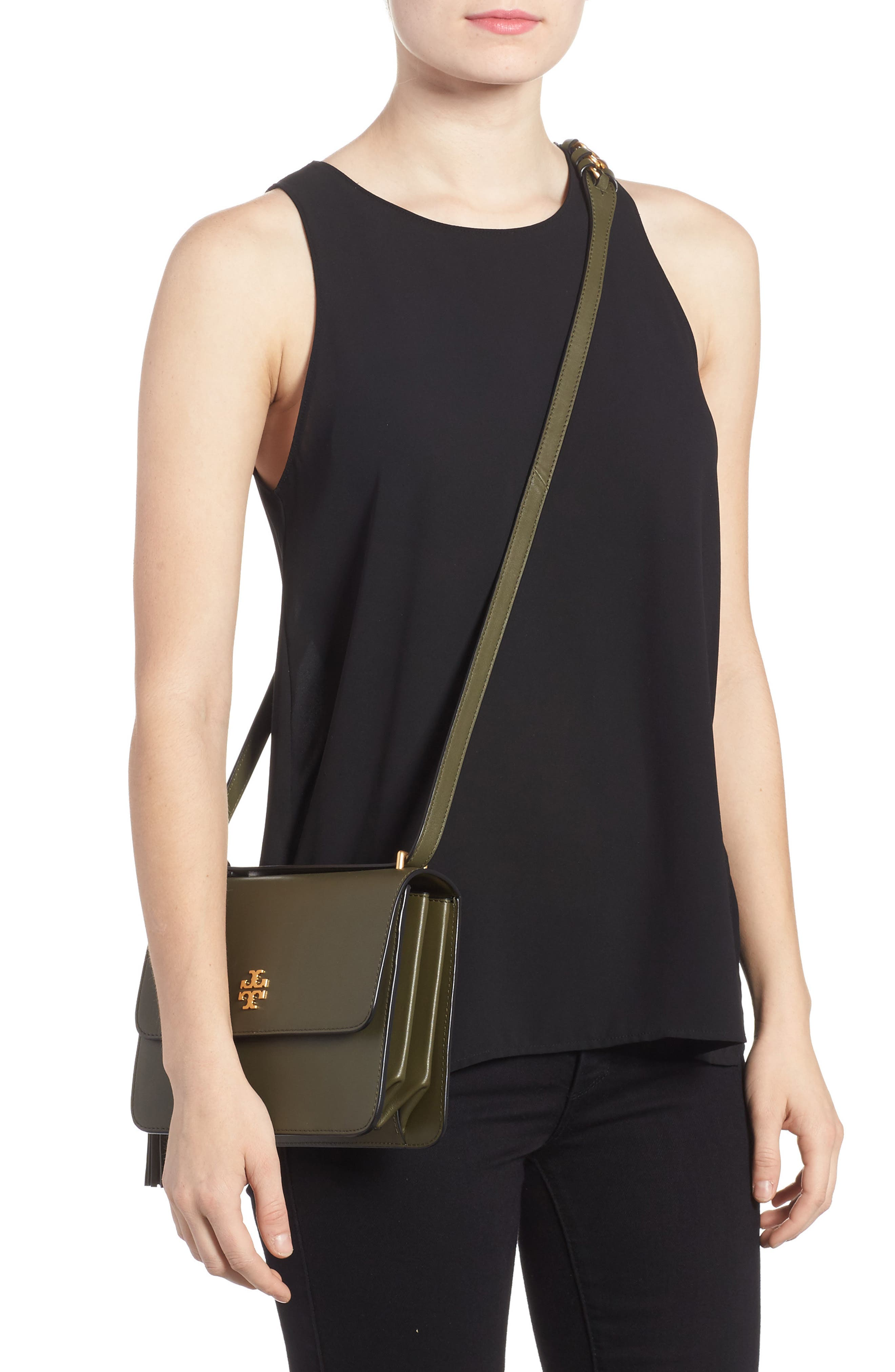 Brooke Leather Crossbody Bag,                             Alternate thumbnail 6, color,