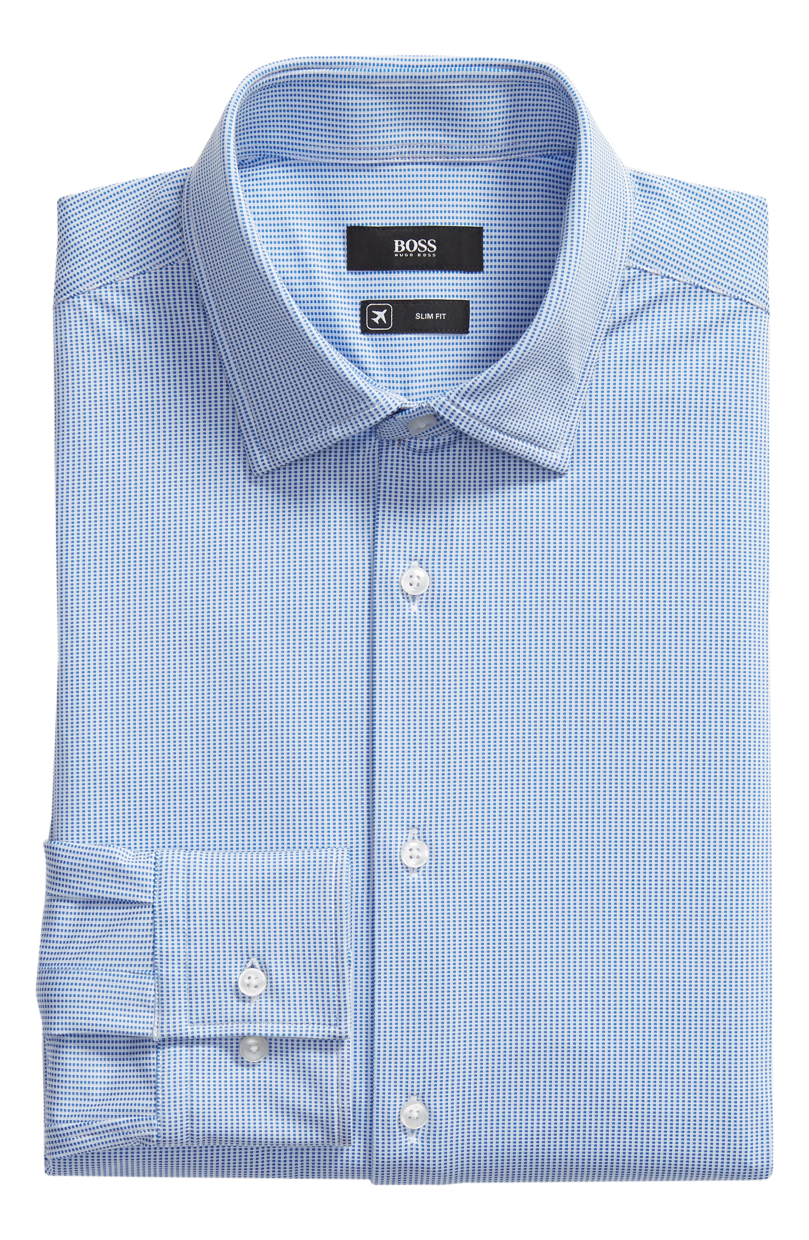 Jenno Slim Fit Stretch Check Dress Shirt,                             Alternate thumbnail 5, color,                             BLUE