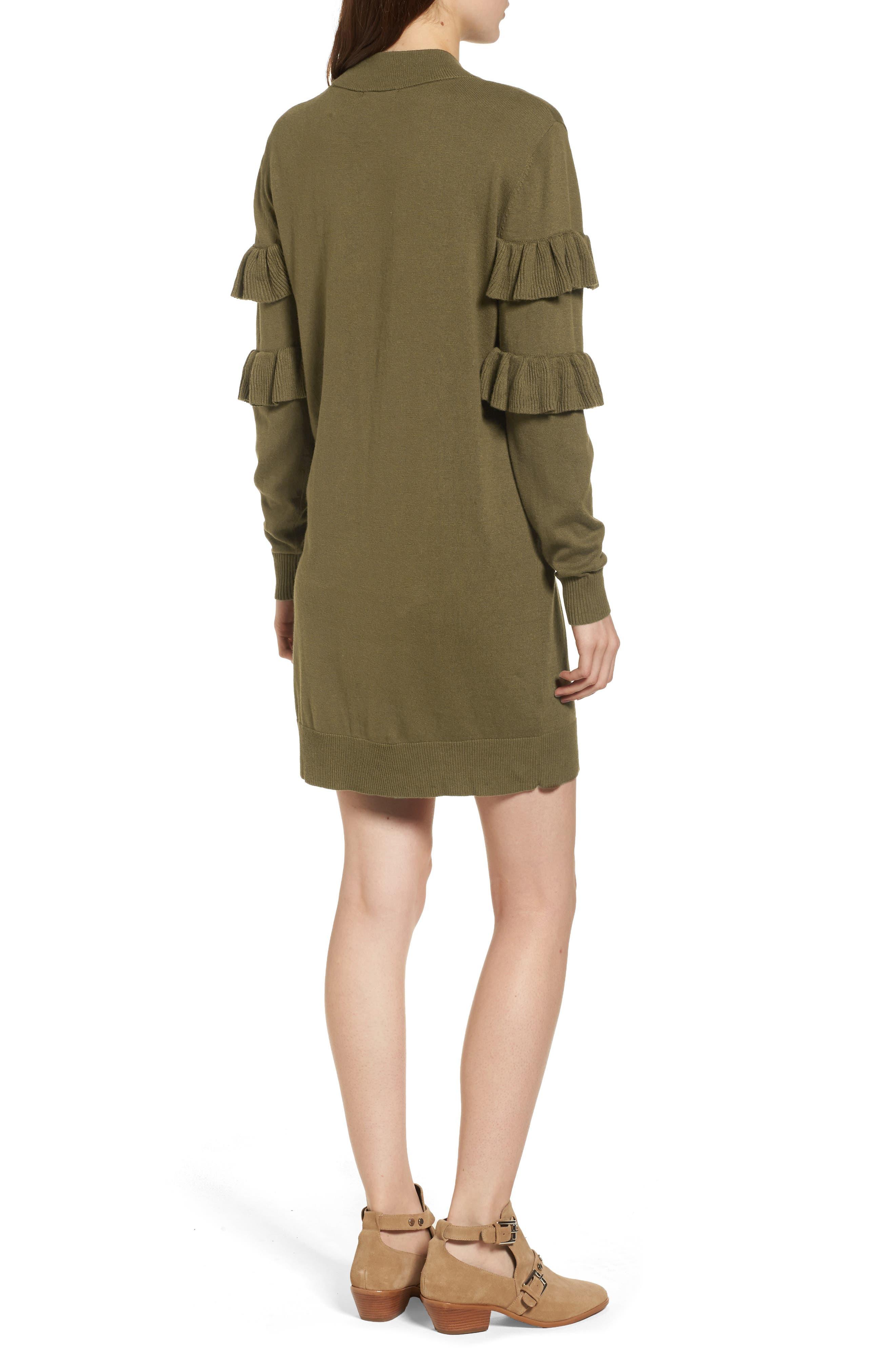 Ruffle Sweater Dress,                             Alternate thumbnail 2, color,