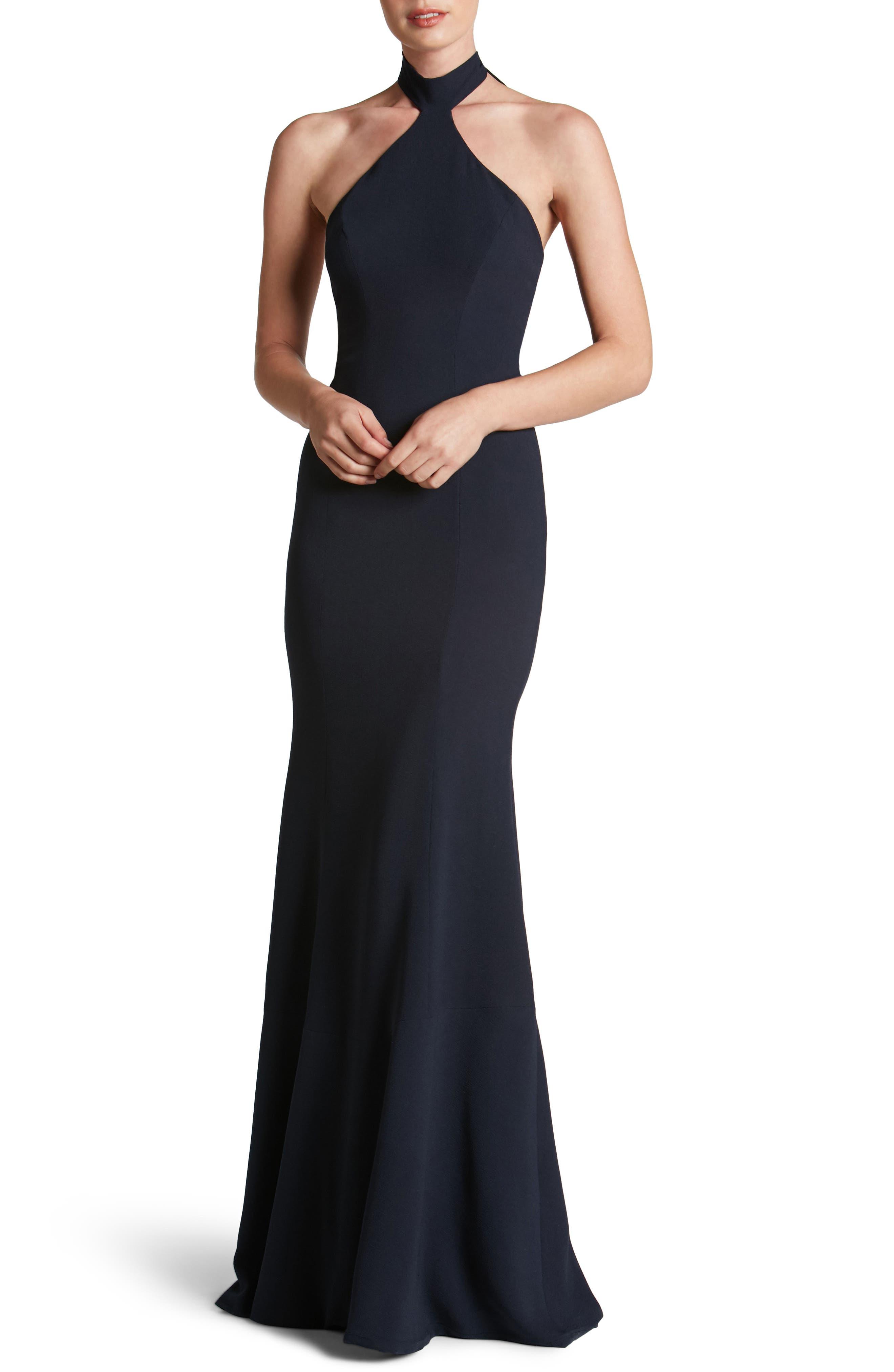 Taylor Crepe Halter Gown,                             Main thumbnail 3, color,