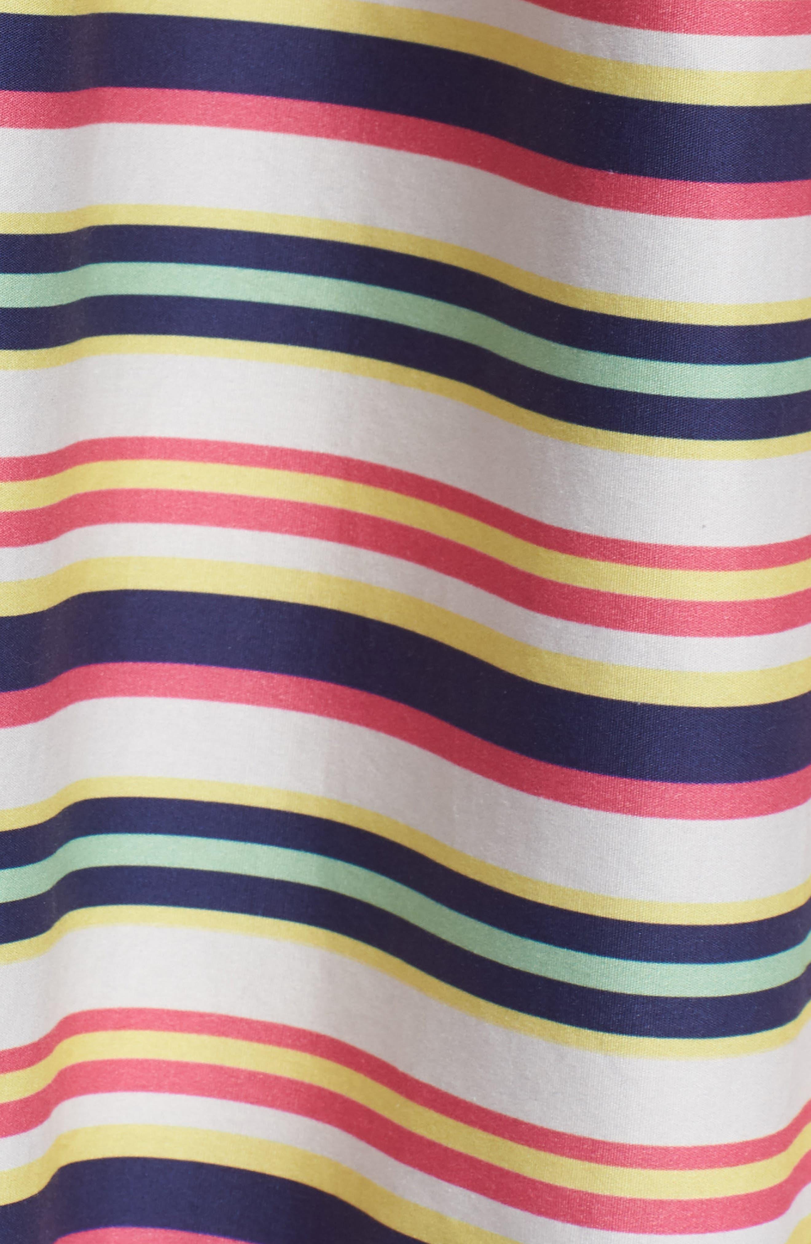 Stripe Strappy Cotton Dress,                             Alternate thumbnail 5, color,                             NAVY PINK COMBO STRIPE