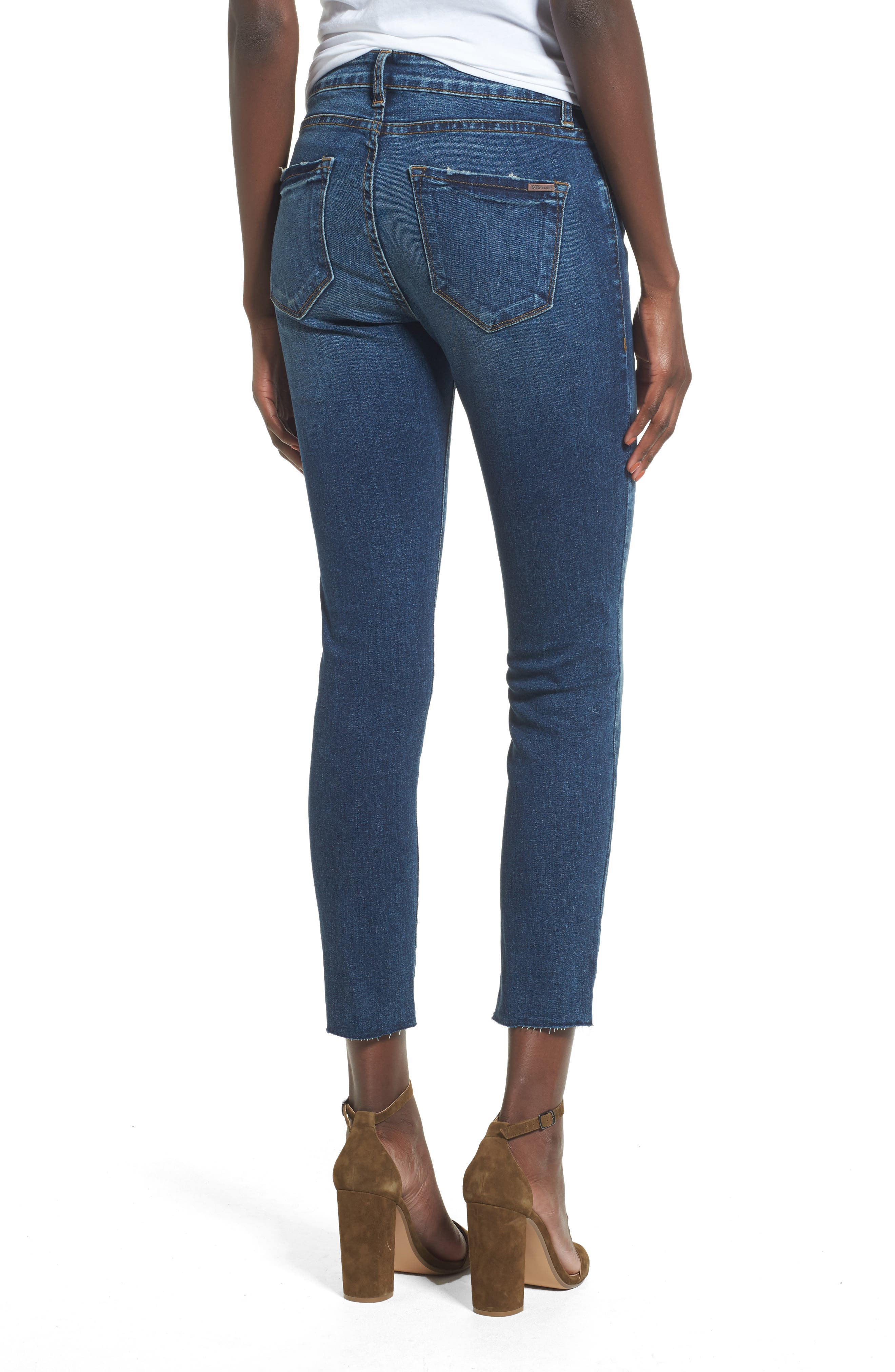 Distressed Ankle Straight Leg Jeans,                             Alternate thumbnail 2, color,                             400