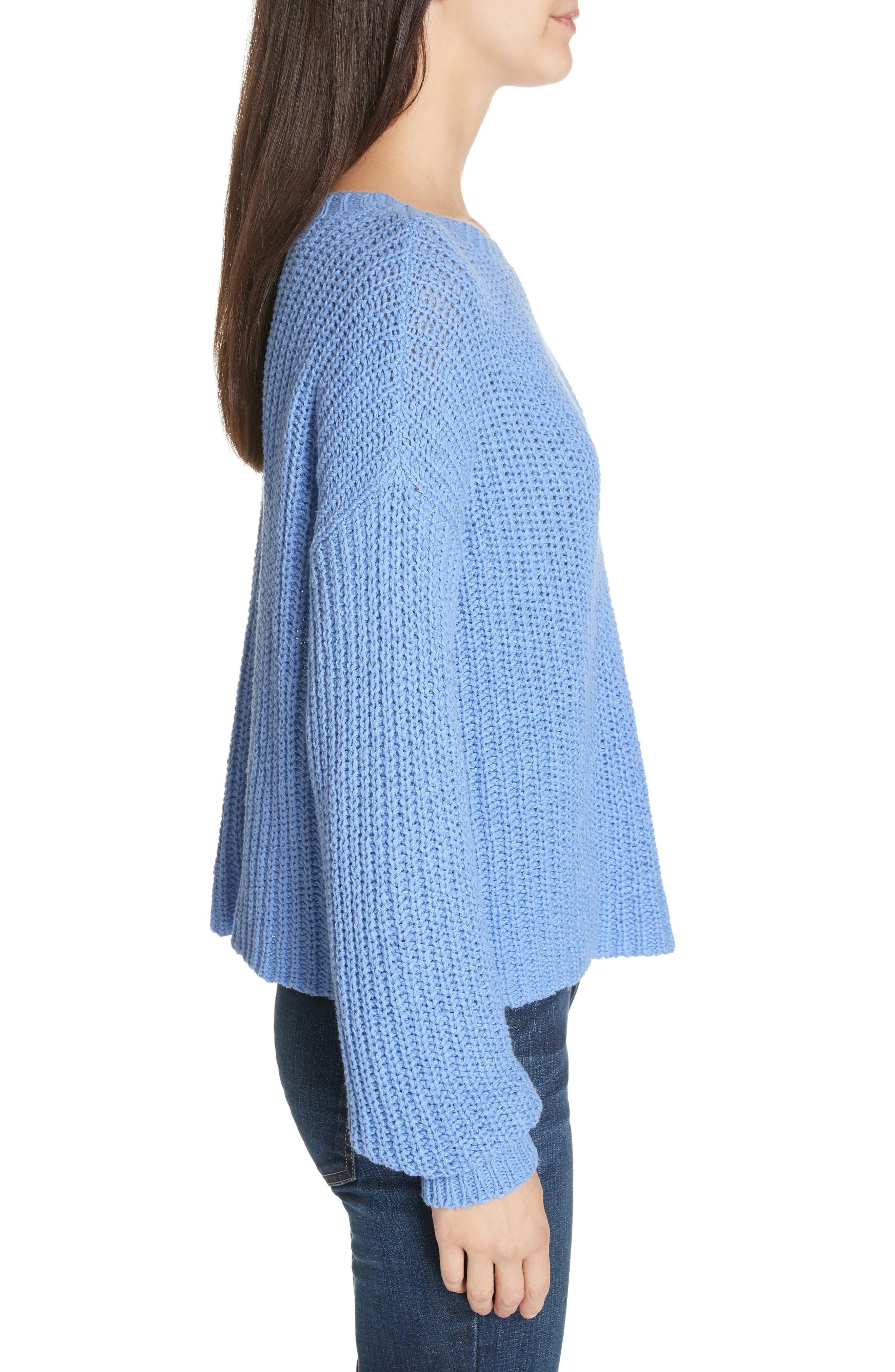 EILEEN FISHER,                             Crewneck Crop Shaker Sweater,                             Alternate thumbnail 3, color,                             BLUEBIRD