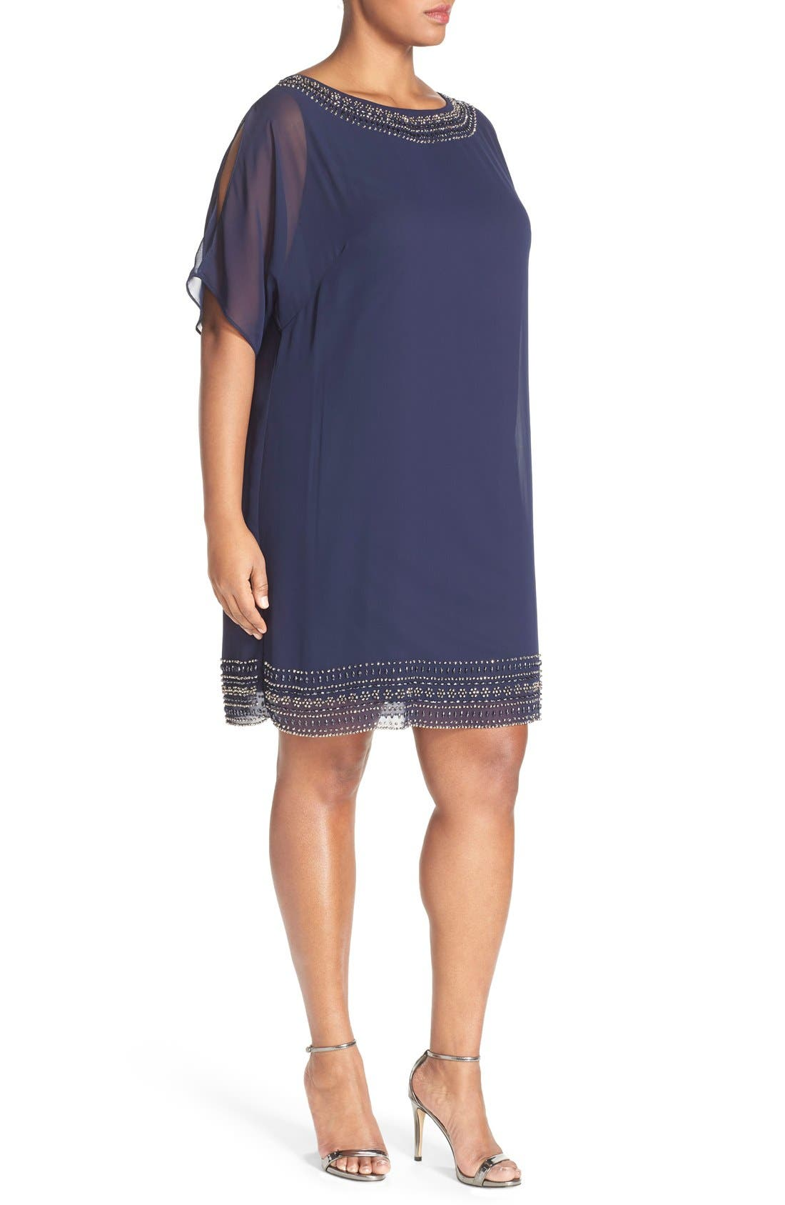 Embellished Split Sleeve Chiffon Shift Dress,                             Alternate thumbnail 5, color,
