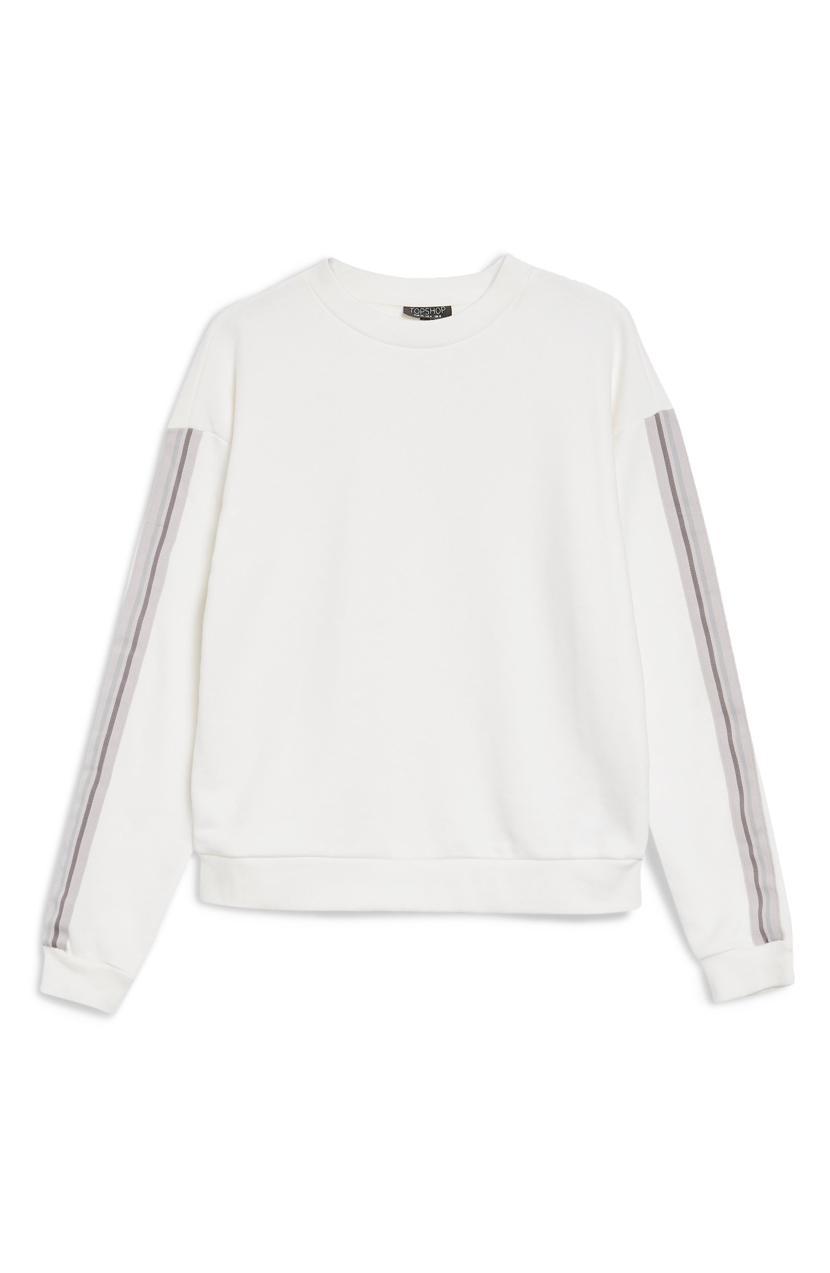 Taped Sleeve Sweatshirt,                             Alternate thumbnail 3, color,                             100