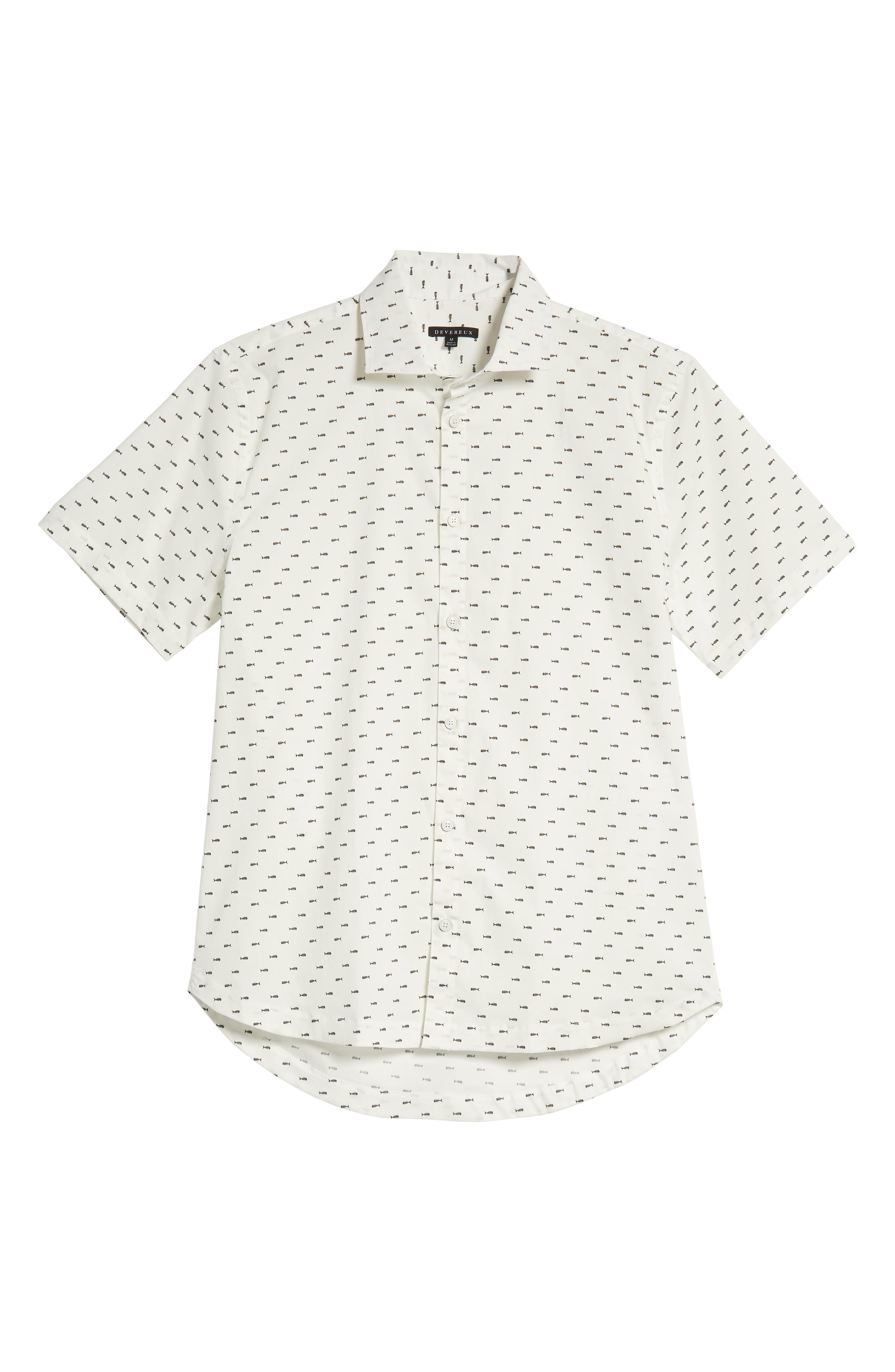 Cabana Regular Fit Sport Shirt,                             Alternate thumbnail 5, color,                             FISH BONES