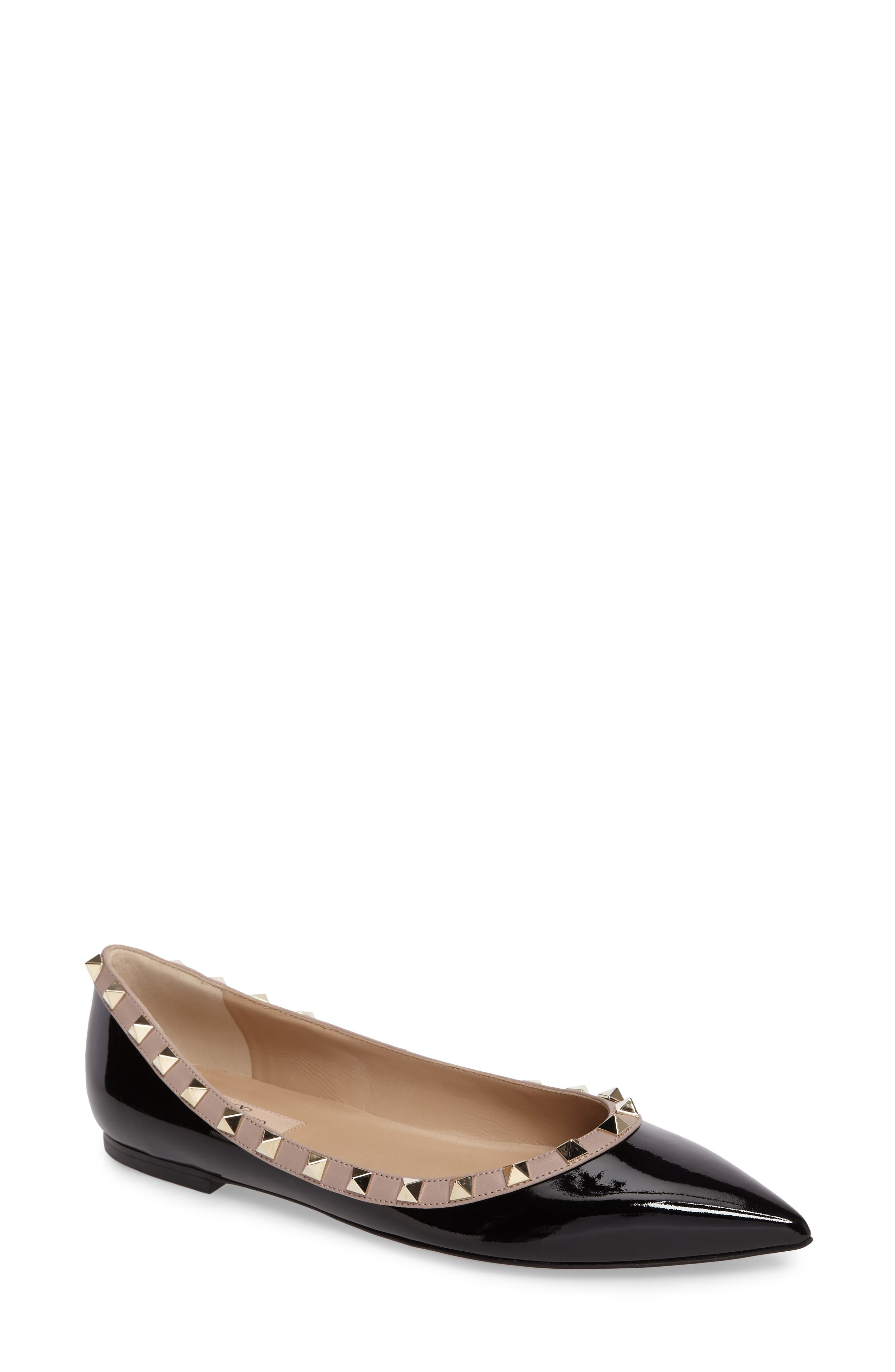 Rockstud Ballerina Flat,                         Main,                         color, BLACK/ BLUSH