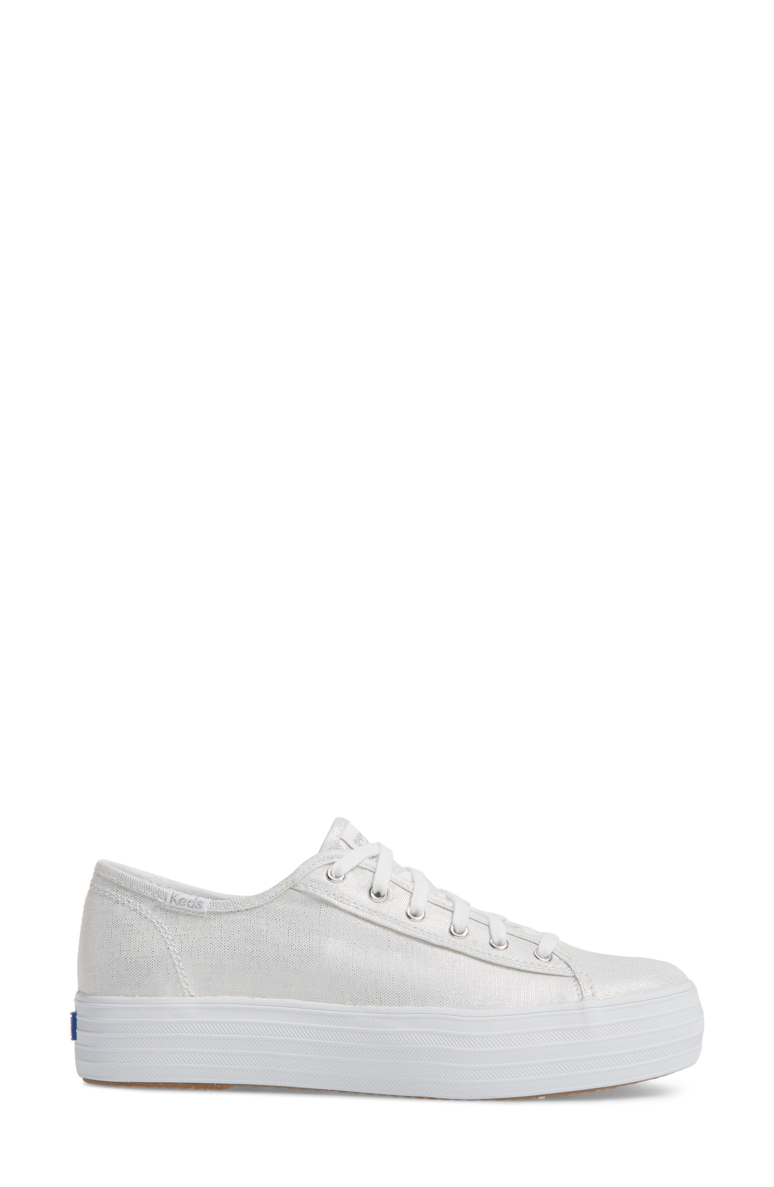Triple Kick Metallic Linen Sneaker,                             Alternate thumbnail 3, color,                             040