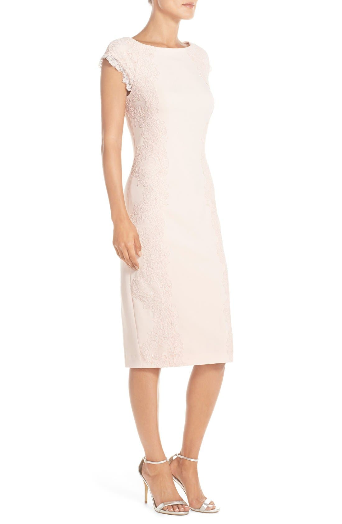 Lace Detail Crepe Sheath Dress,                             Alternate thumbnail 10, color,                             BLUSH