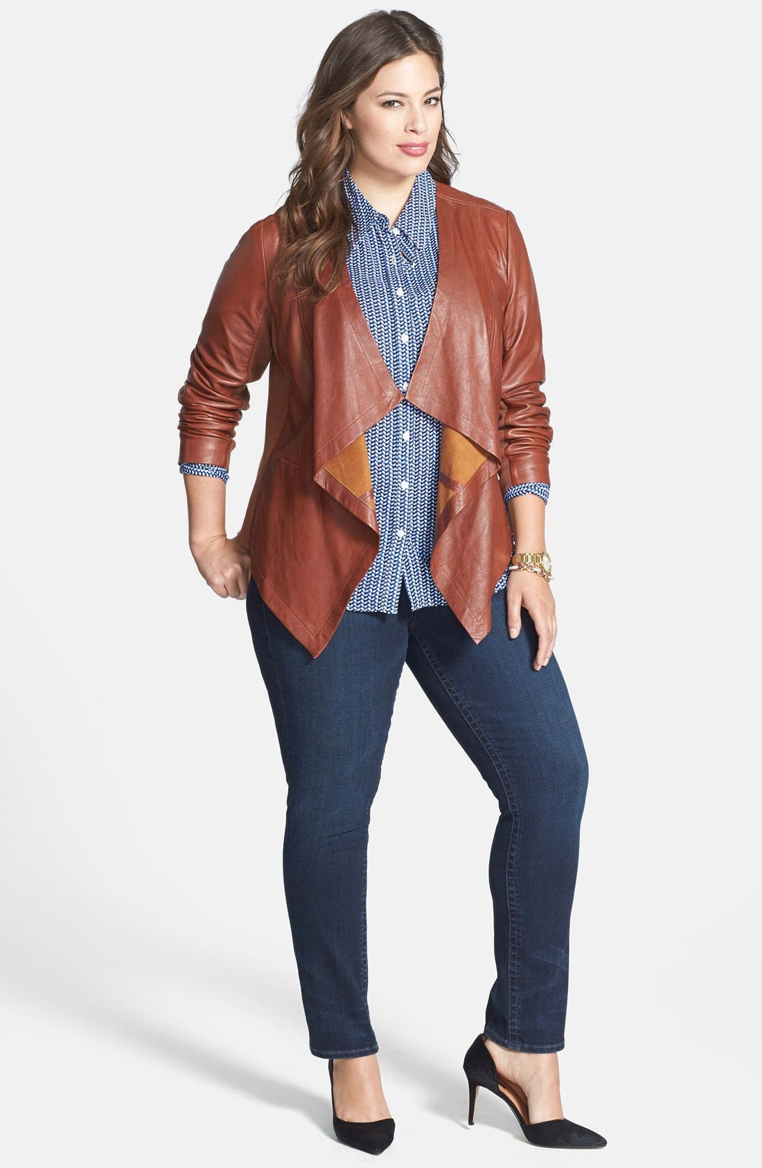 Waterfall Front Leather Jacket,                             Alternate thumbnail 8, color,