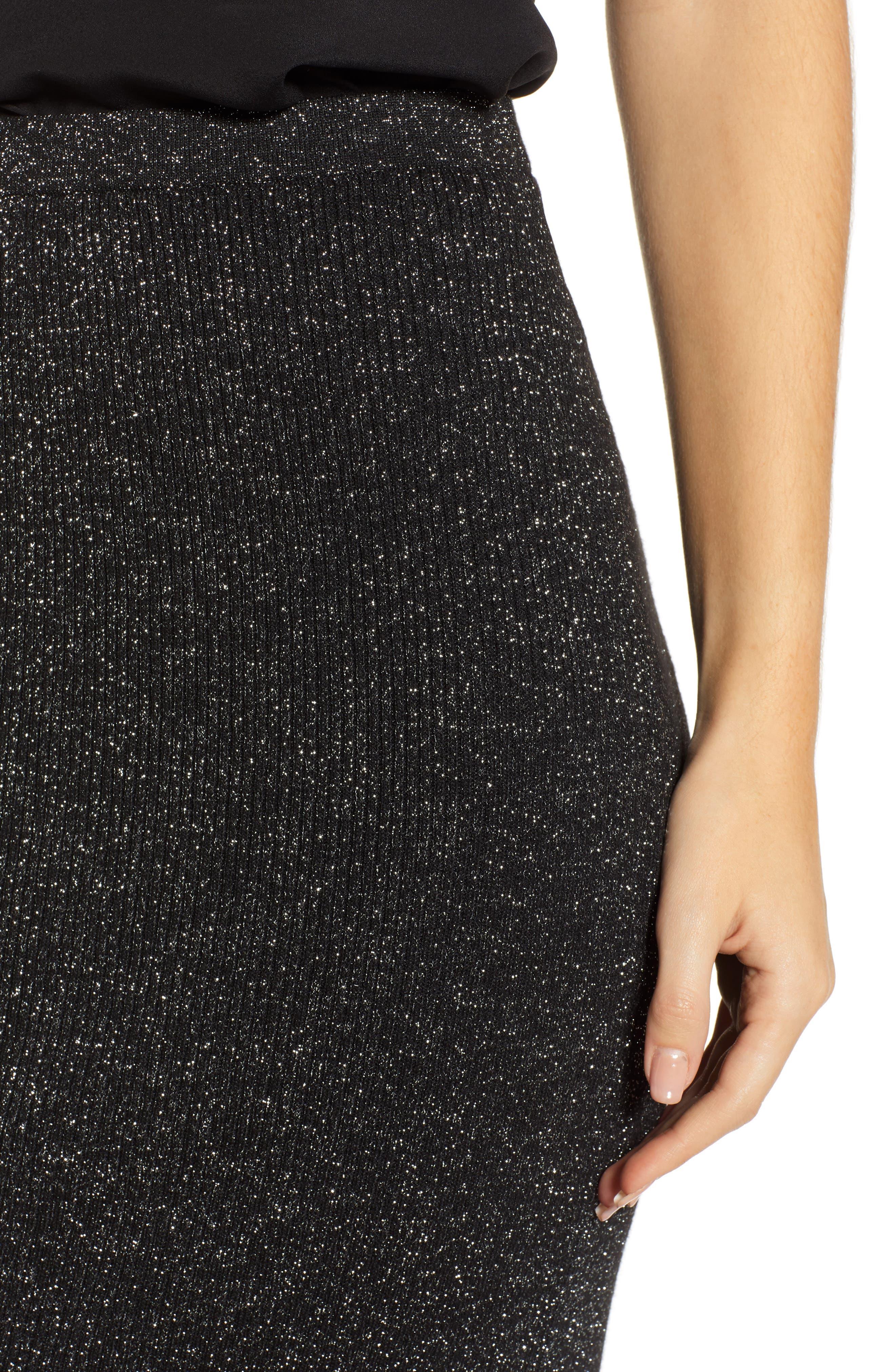 Metallic Pencil Skirt,                             Alternate thumbnail 4, color,                             BLACK- SILVER SPANGLE METALLIC