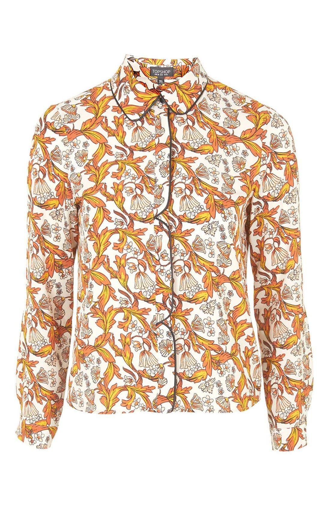 Piped Floral Print Shirt,                             Alternate thumbnail 4, color,                             900
