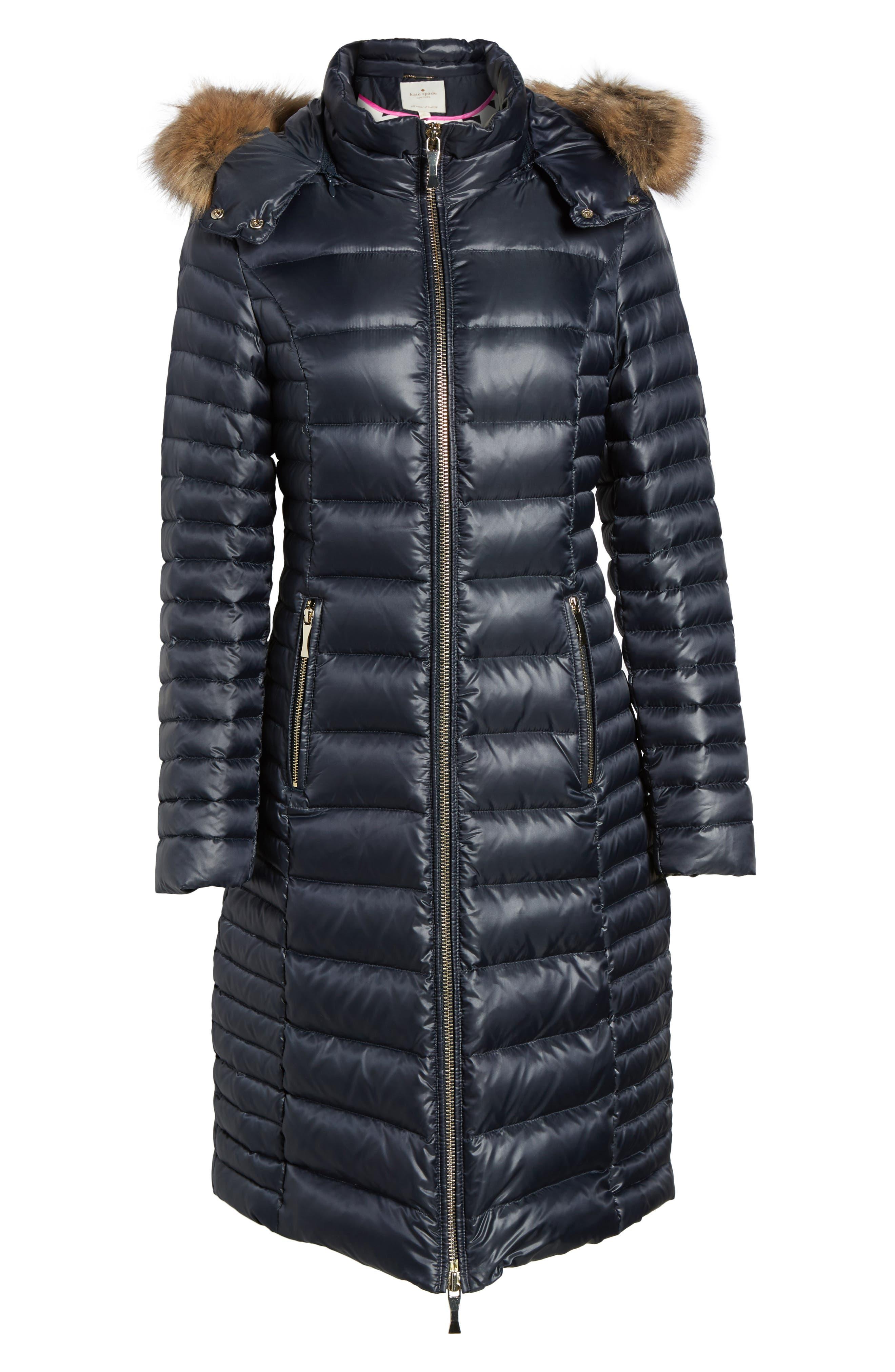 down puffer coat with faux fur trim,                             Alternate thumbnail 6, color,