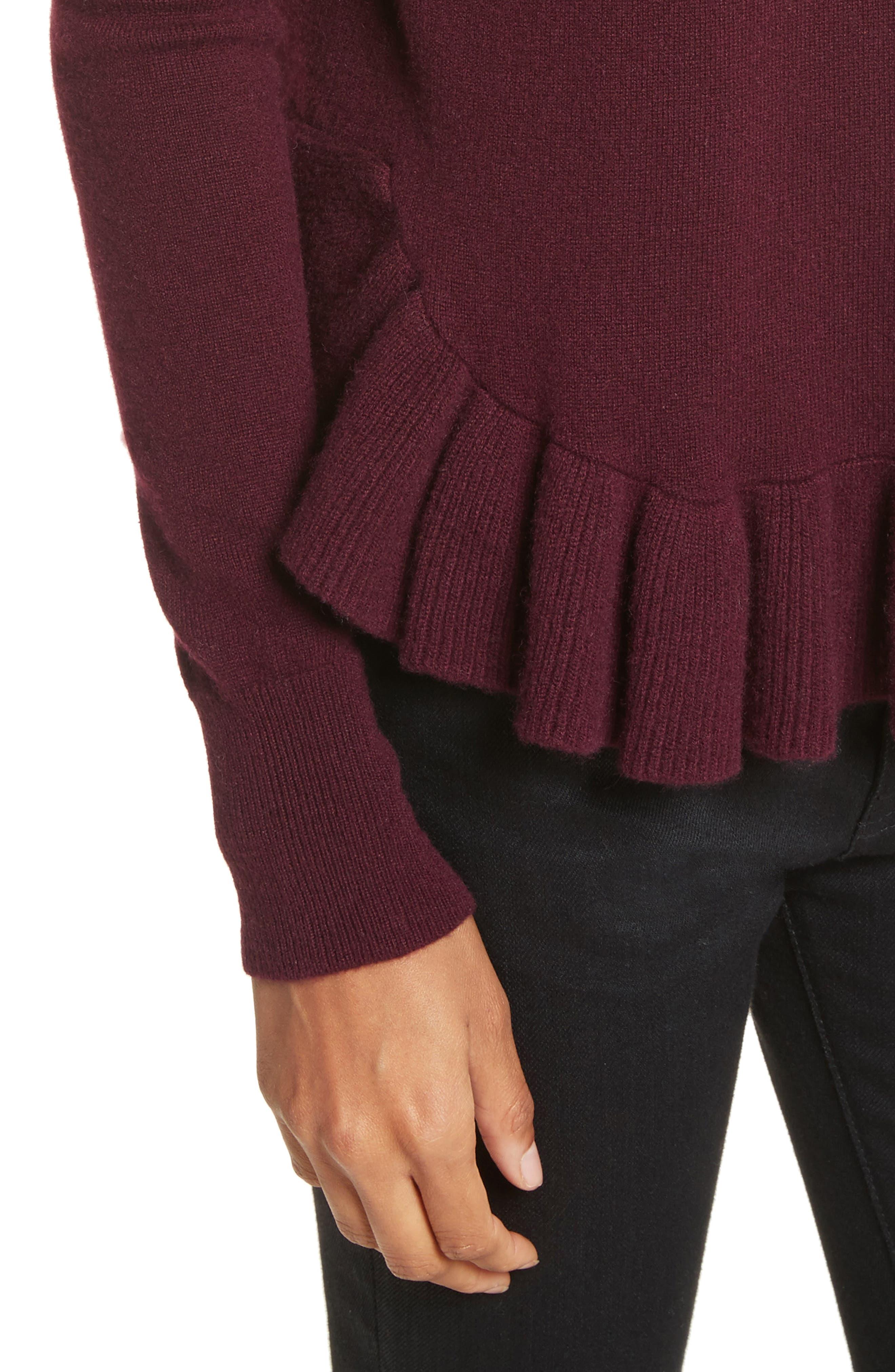 Ruffle Hem Crewneck Sweater,                             Alternate thumbnail 4, color,