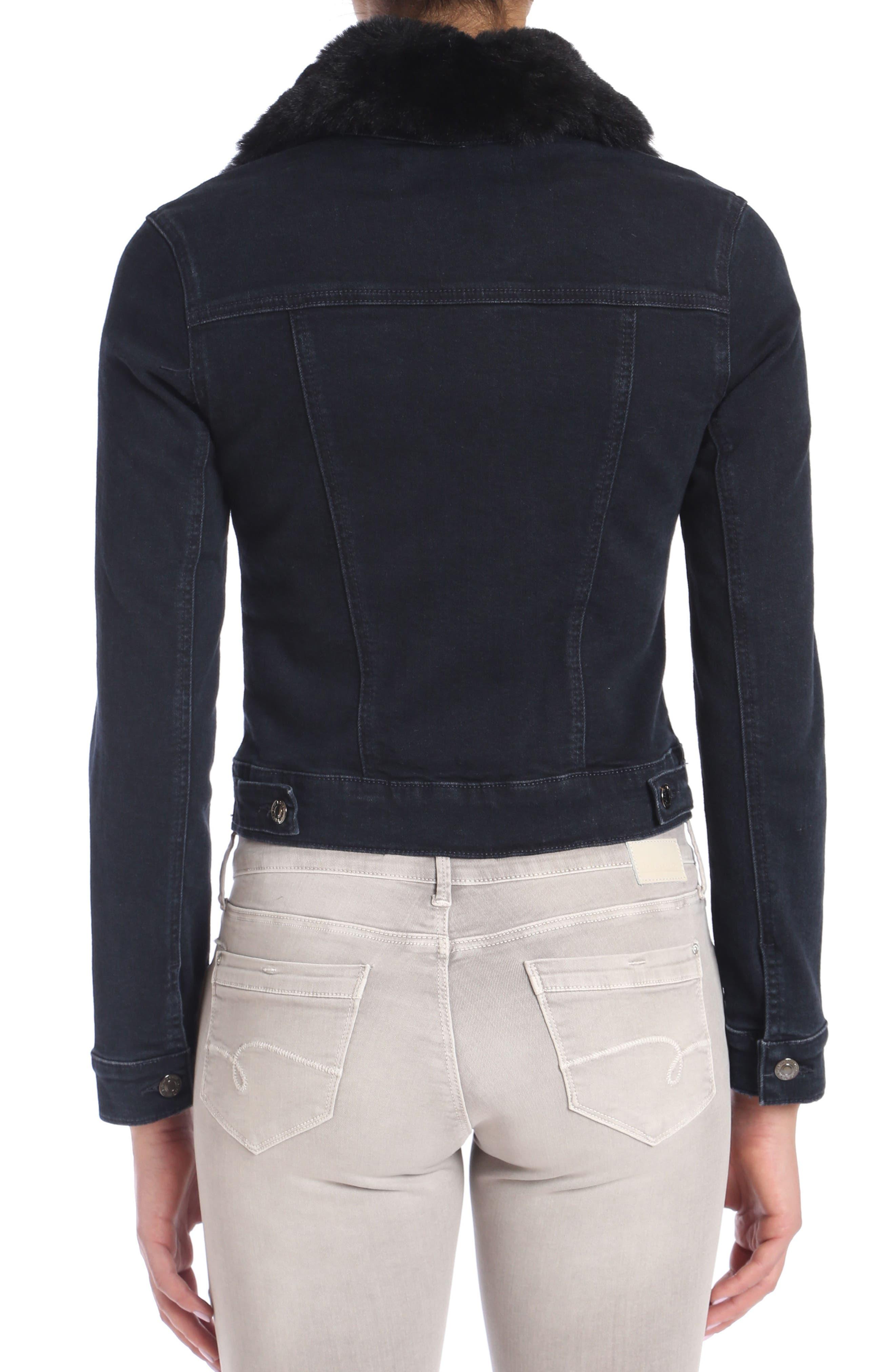 Samantha Faux Fur Collar Denim Jacket,                             Alternate thumbnail 3, color,                             011