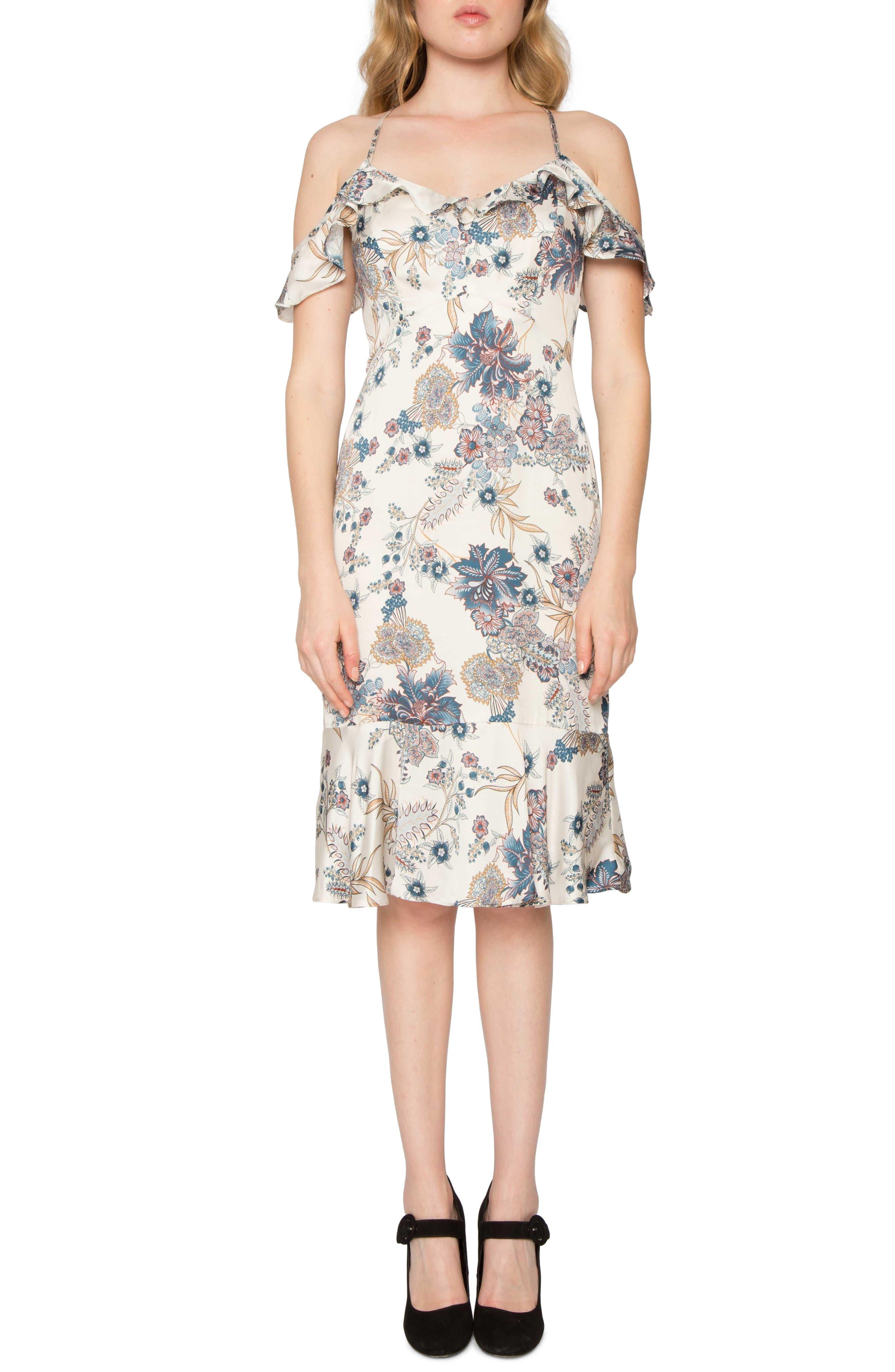 Print Cold Shoulder Dress,                             Alternate thumbnail 5, color,                             661
