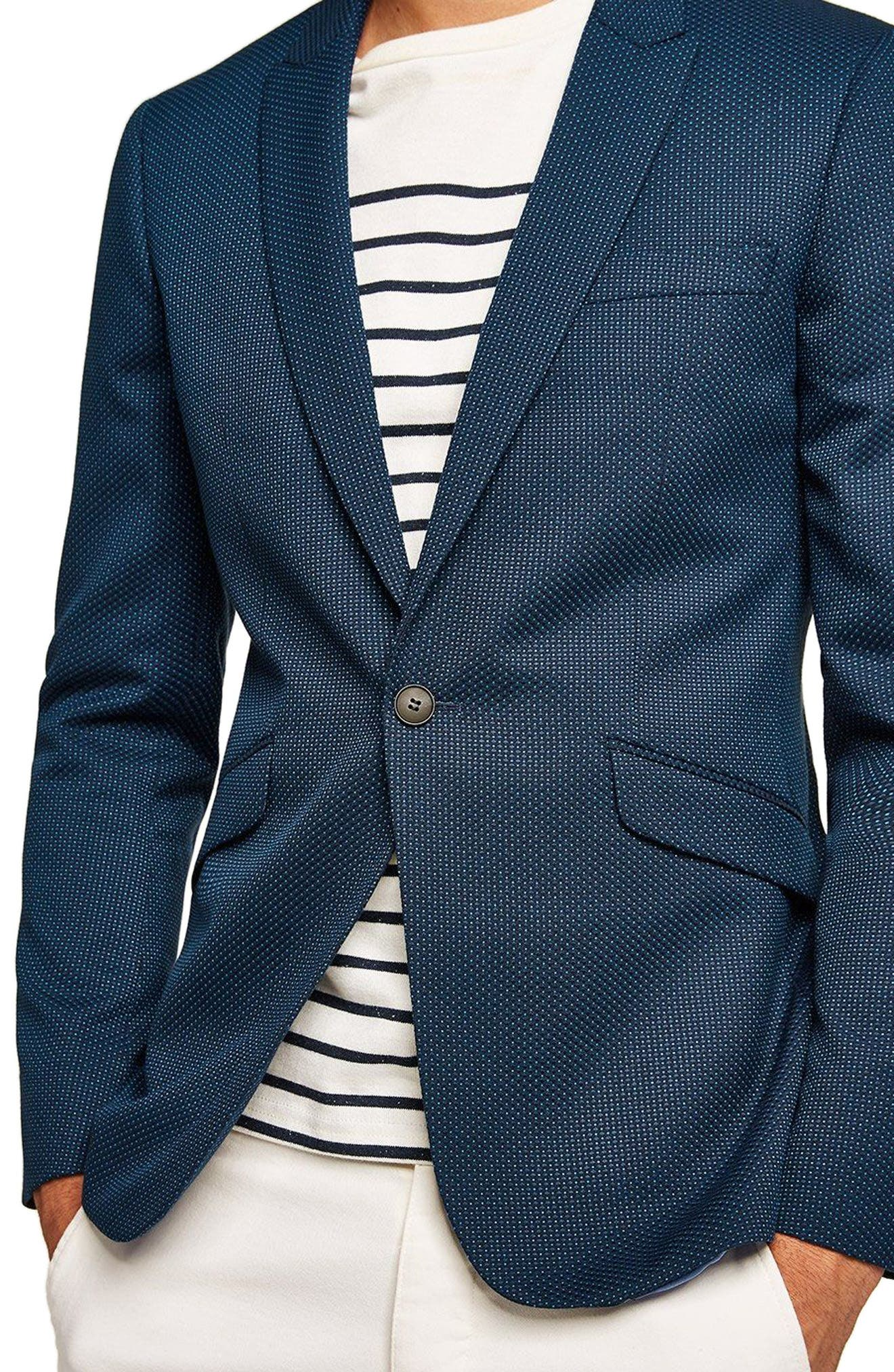 Skinny Fit Pin Dot Suit Jacket,                             Alternate thumbnail 3, color,                             DARK BLUE