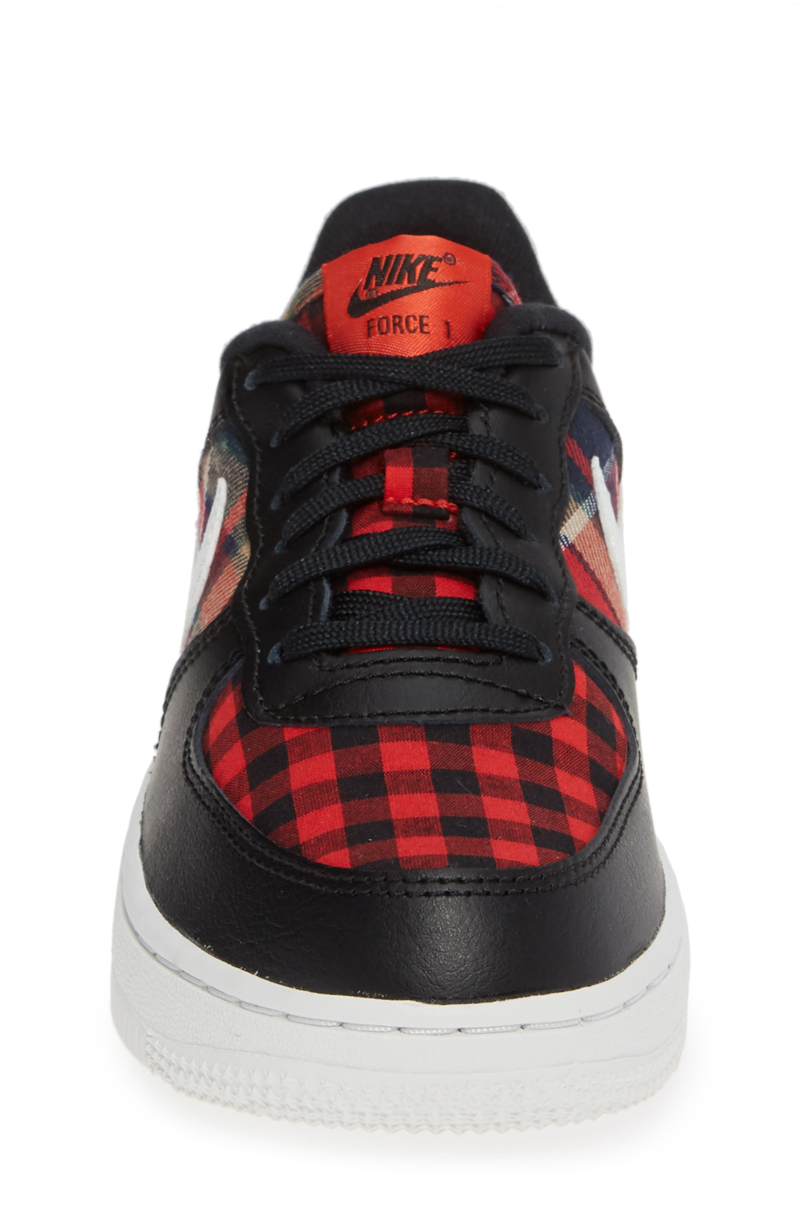 Air Force 1 LV8 Sneaker,                             Alternate thumbnail 4, color,                             BLACK SUMMIT WHITE RED