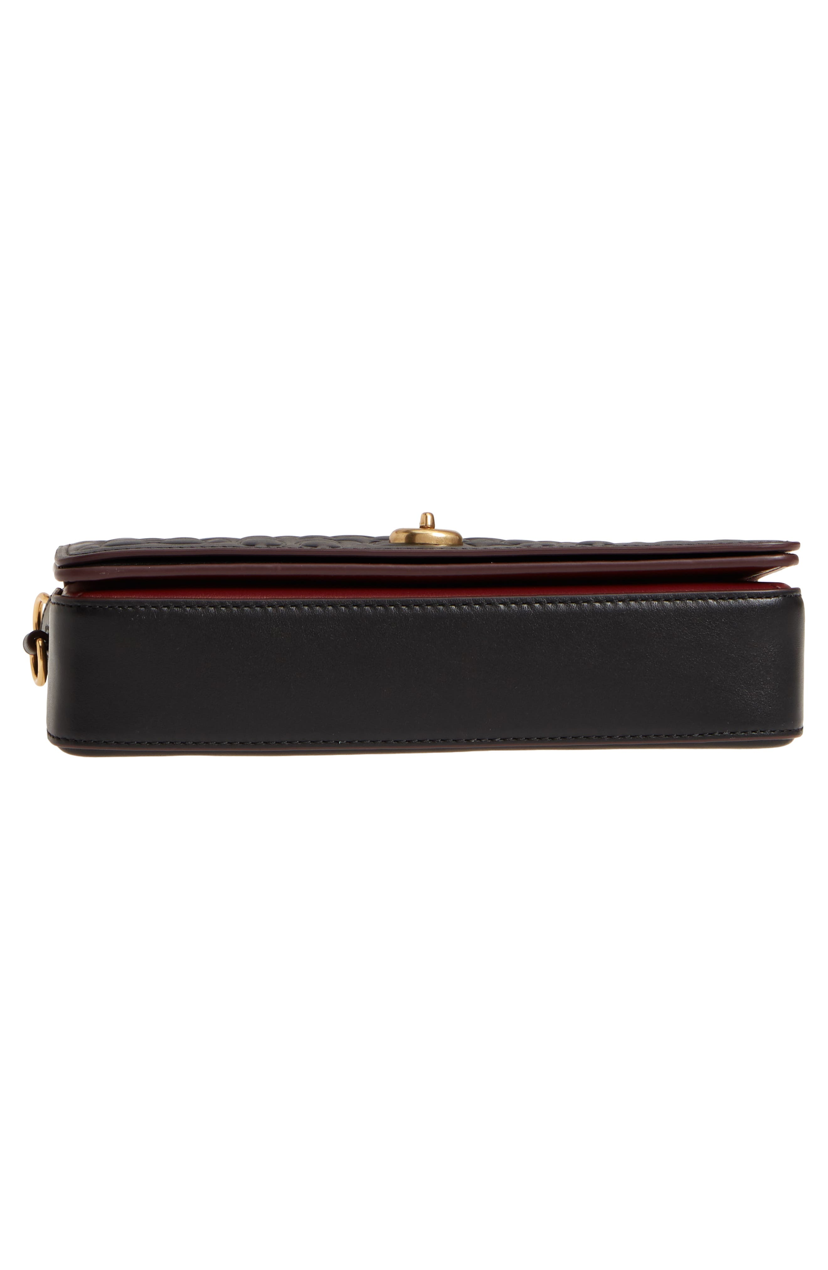 Logo Embossed Dinky Leather Crossbody Clutch,                             Alternate thumbnail 6, color,                             BLACK